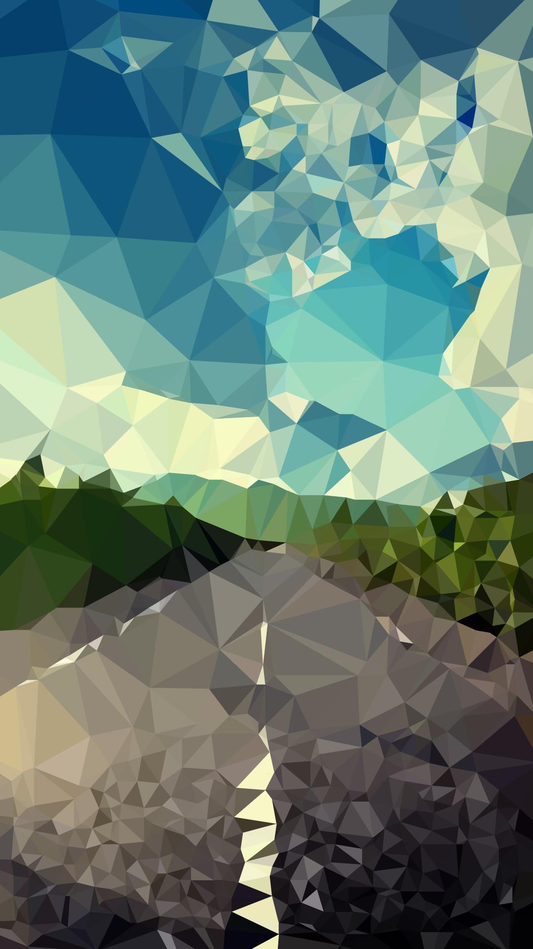 Res: 1080x1920, Polygonal landscape