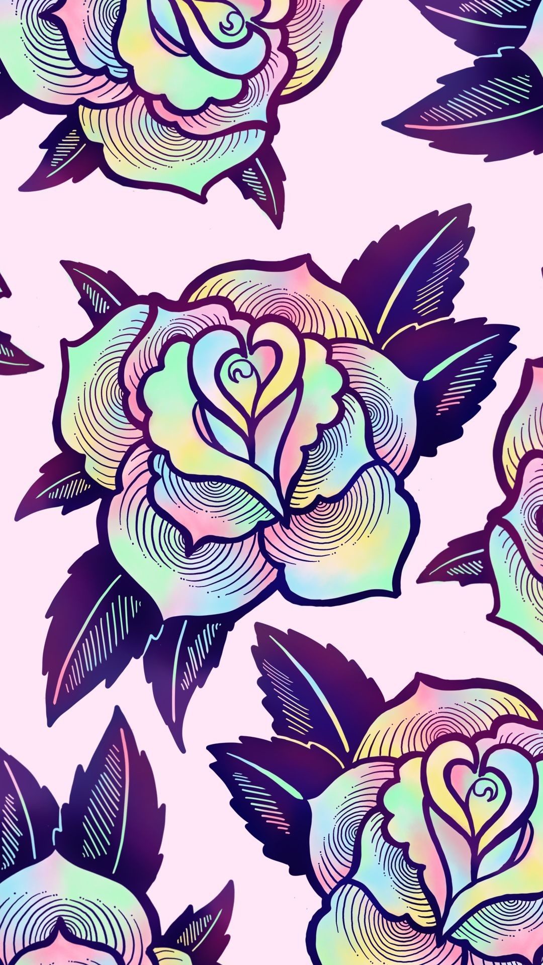 Res: 1080x1920, Cute, colorful psychedelic rose wallpaper for your phone or desktop computer. By Ectogasm