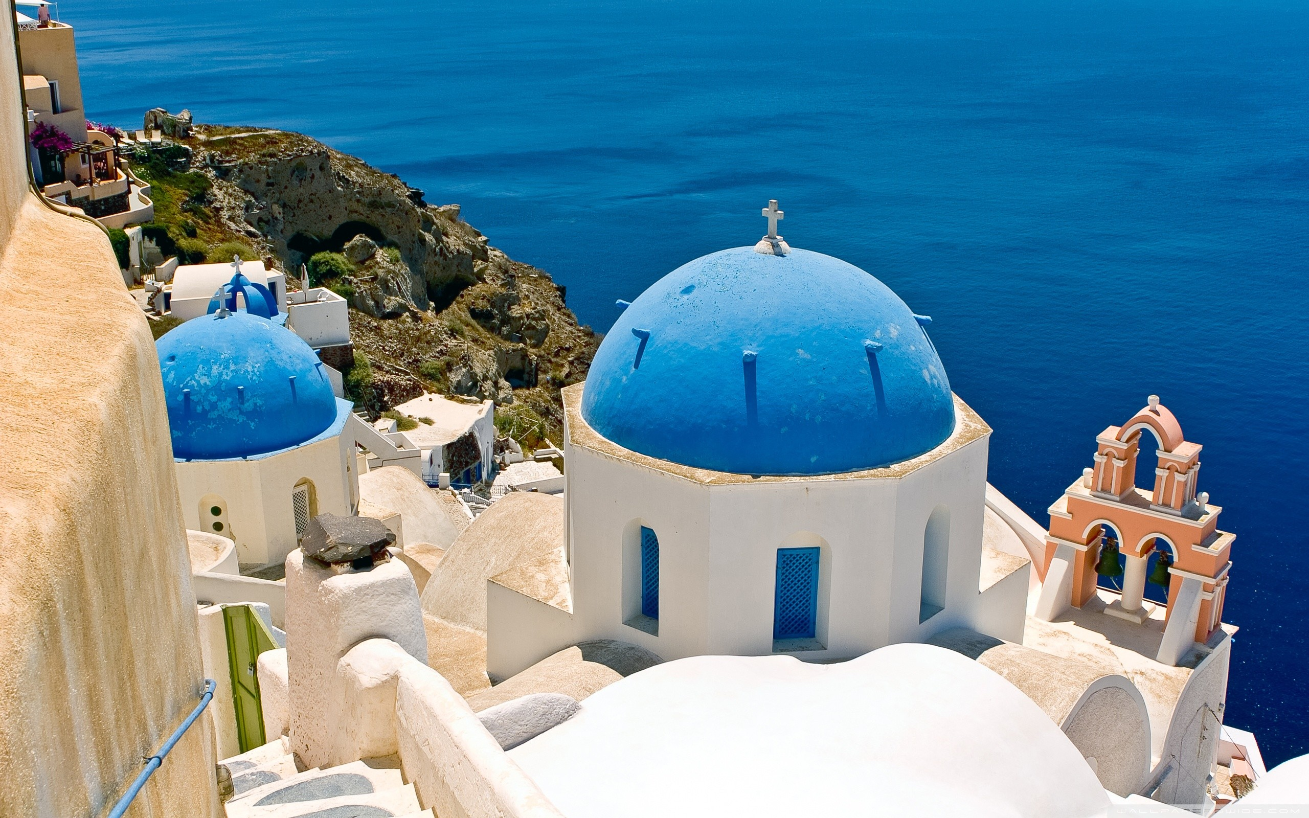 Res: 2560x1600, Oia, Santorini, Greece HD Wide Wallpaper for 4K UHD Widescreen desktop &  smartphone