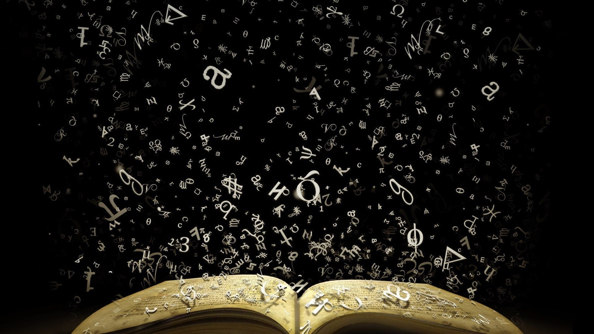 Res: 1920x1080, books, Literature, Numbers, Signs, Knowledge, Black background, Greek HD  Wallpapers / Desktop and Mobile Images & Photos