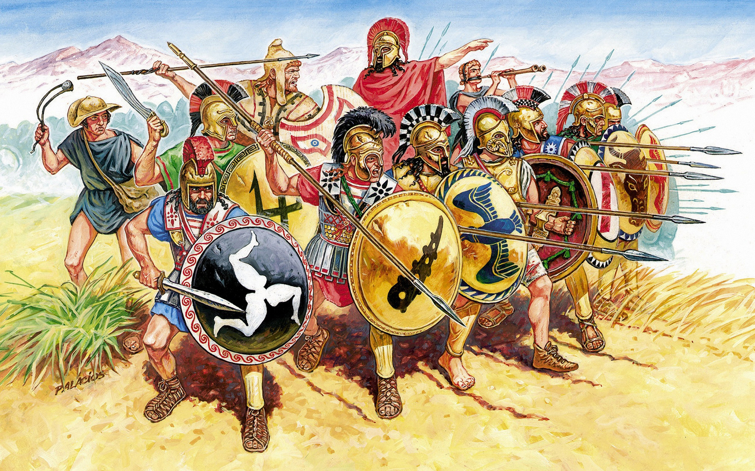 Res: 2560x1600, Rome, Painting, Infantry, Palacios, Army, Greek