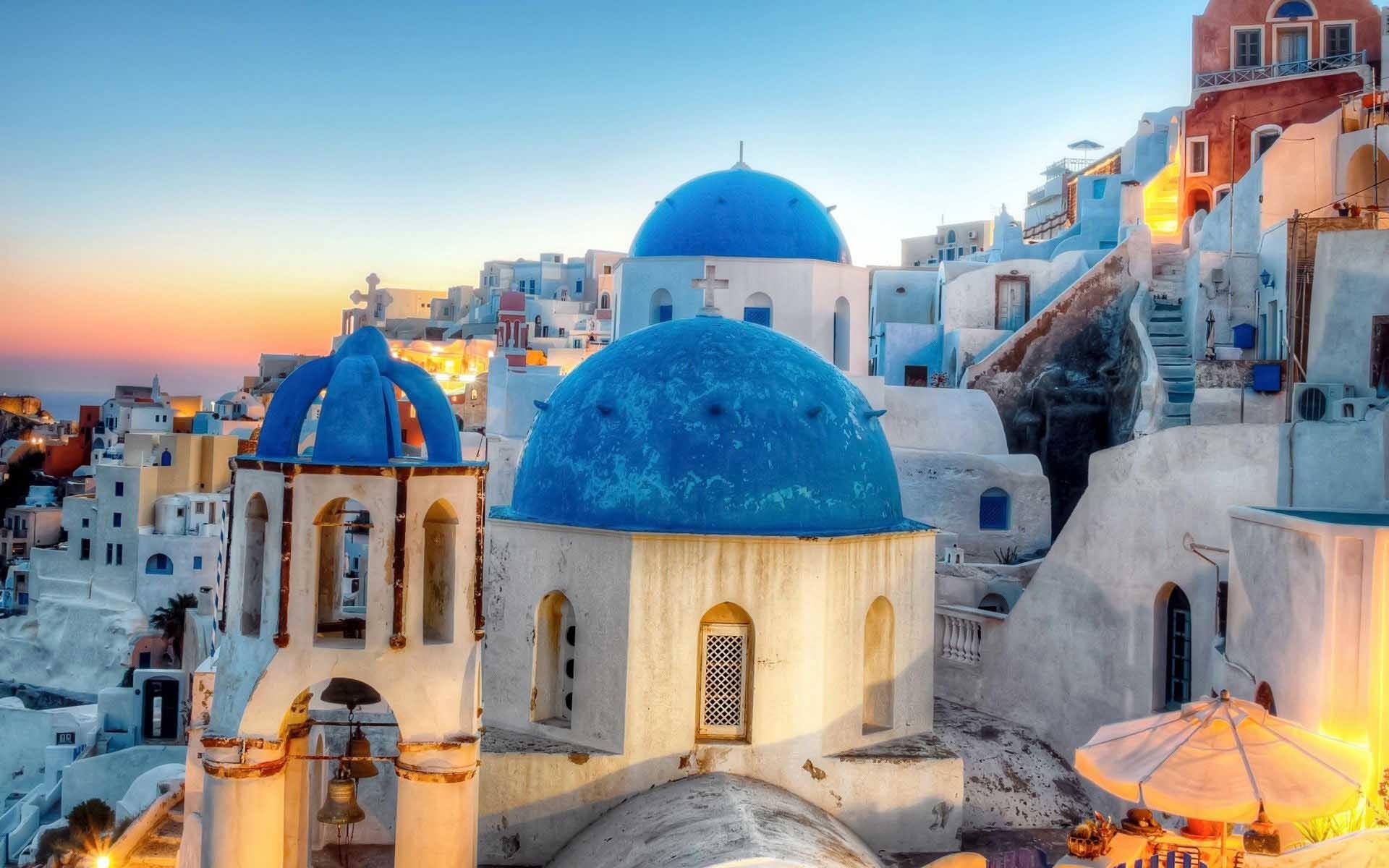 Res: 1920x1200, City Blue Domed Church On Greek Desktops Backgrounds Wallpaper