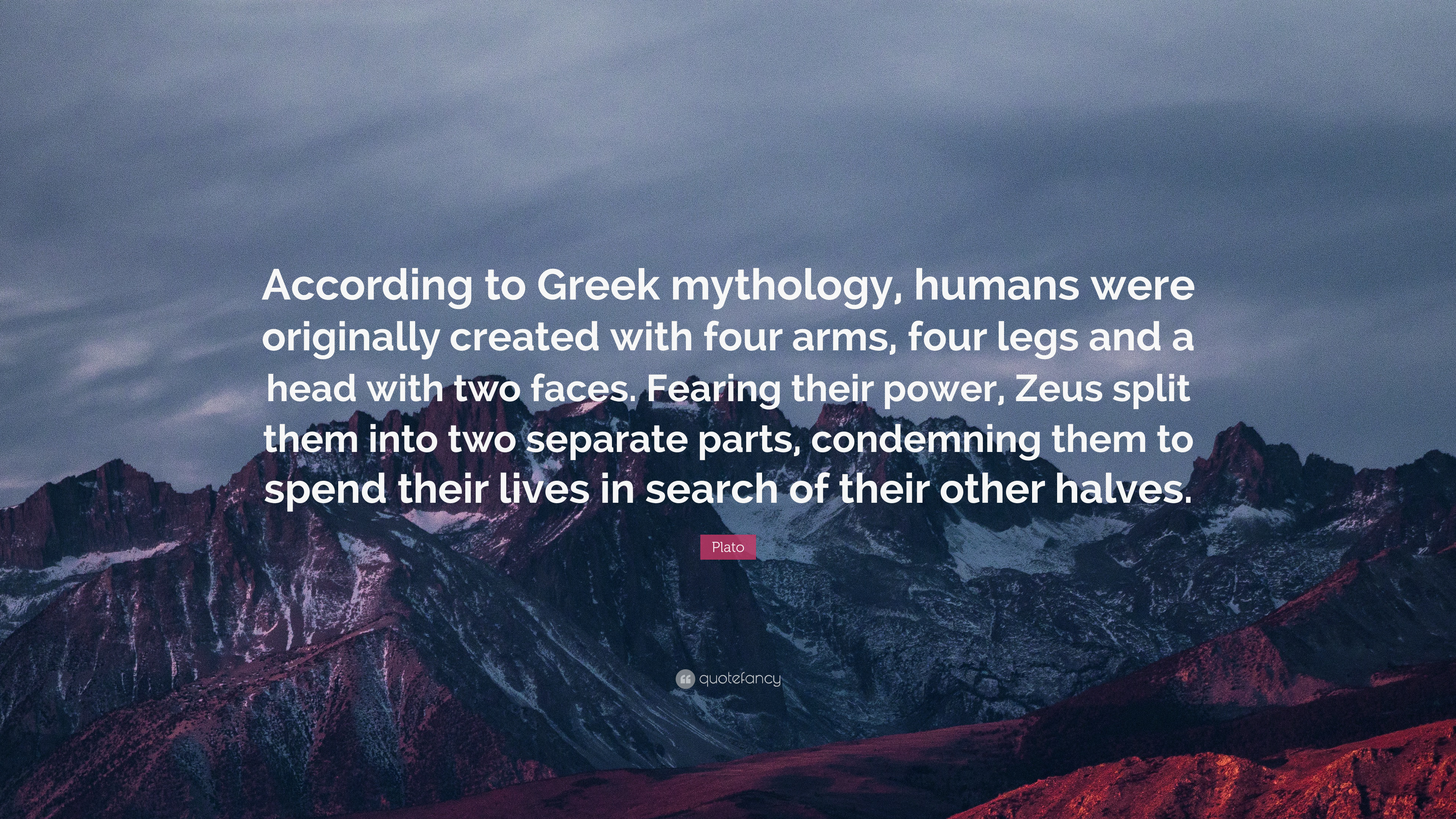 """Res: 3840x2160, Plato Quote: """"According to Greek mythology, humans were originally created  with four arms"""