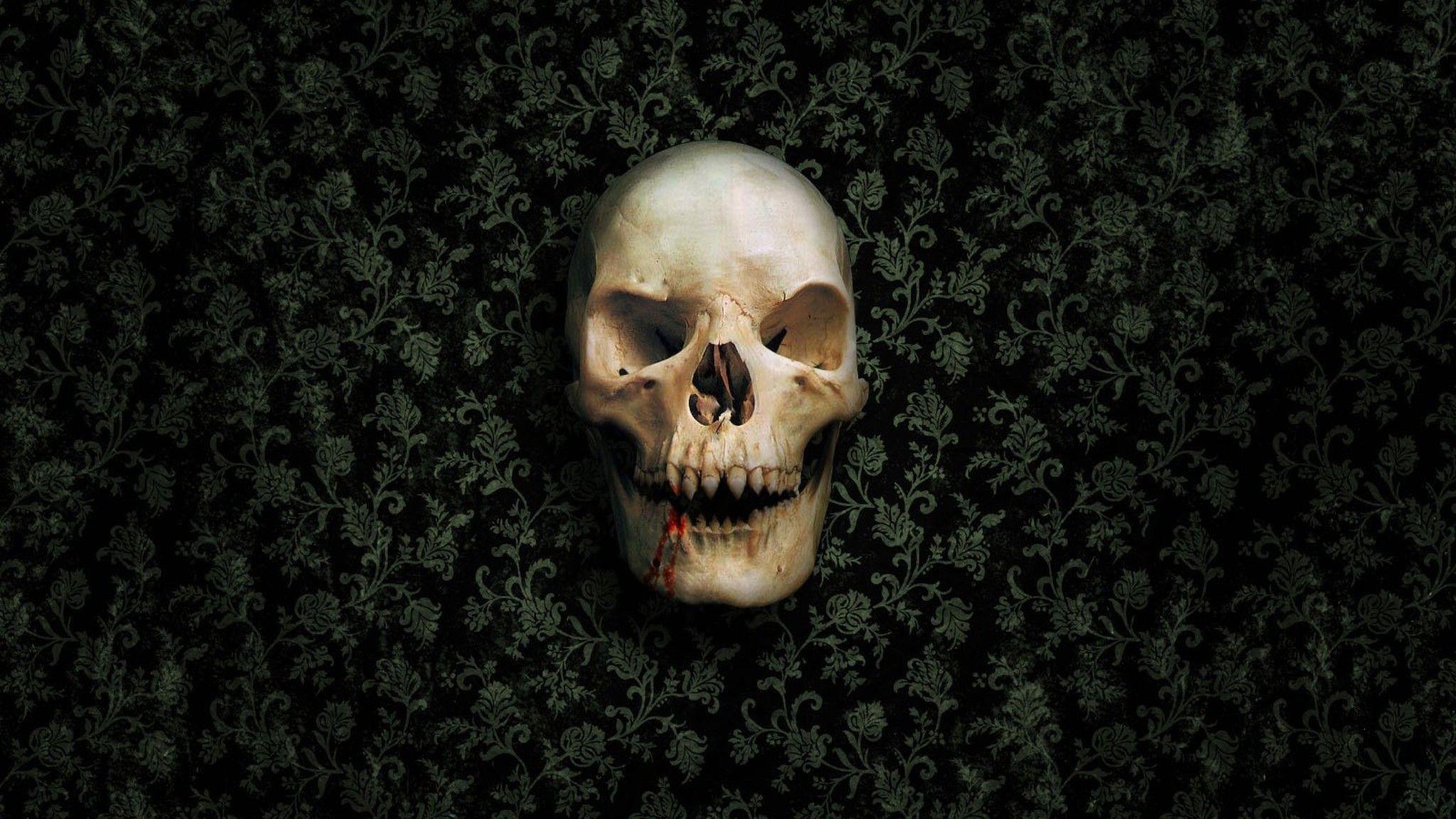 Res: 2048x1152, Vampire Skull Wallpaper