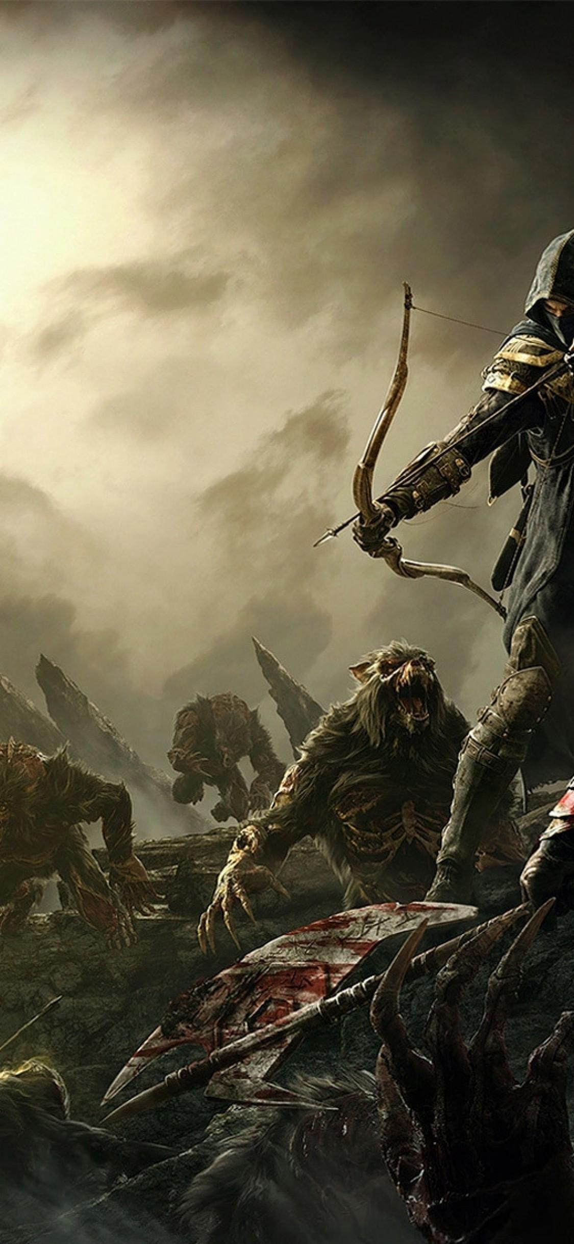 Res: 1125x2436, Elder Scrolls V: Skyrim, Archer, Warrior, Battle, Fantasy, Artwork