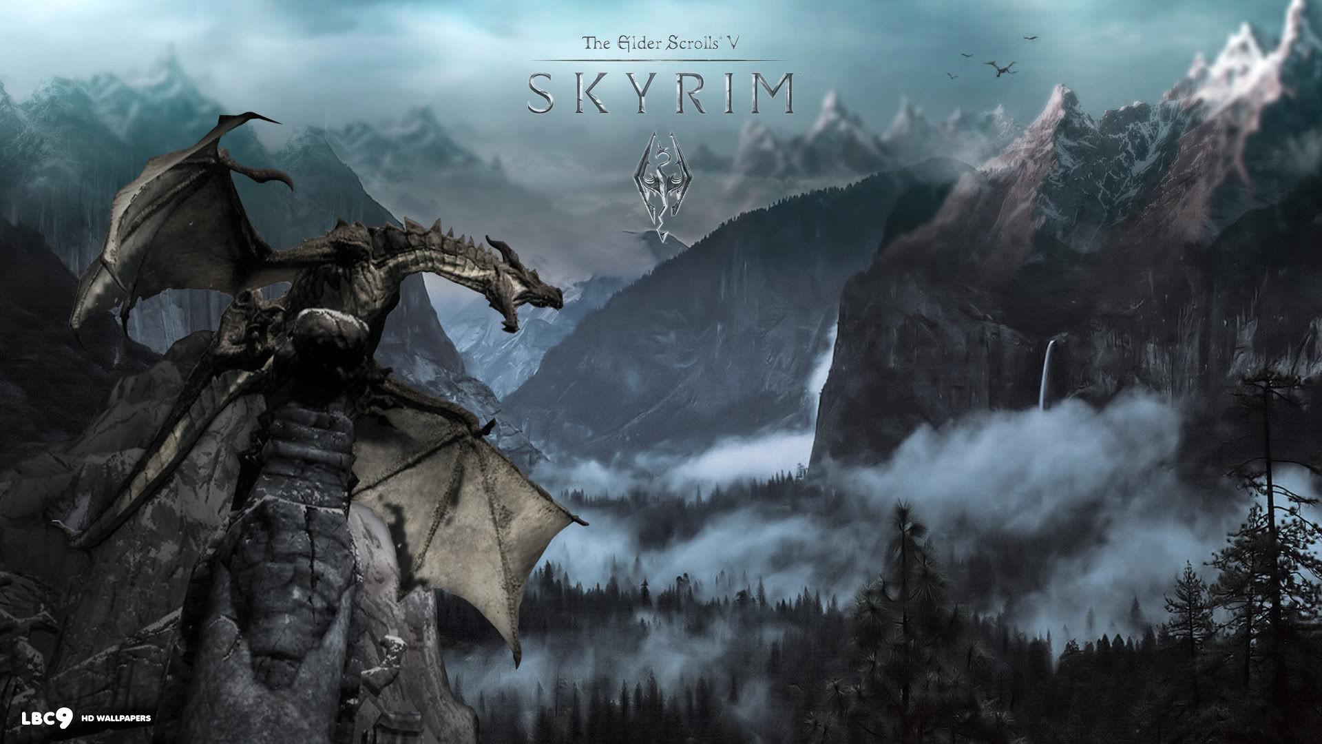 Res: 1920x1080, Skyrim Dragon Wallpaper