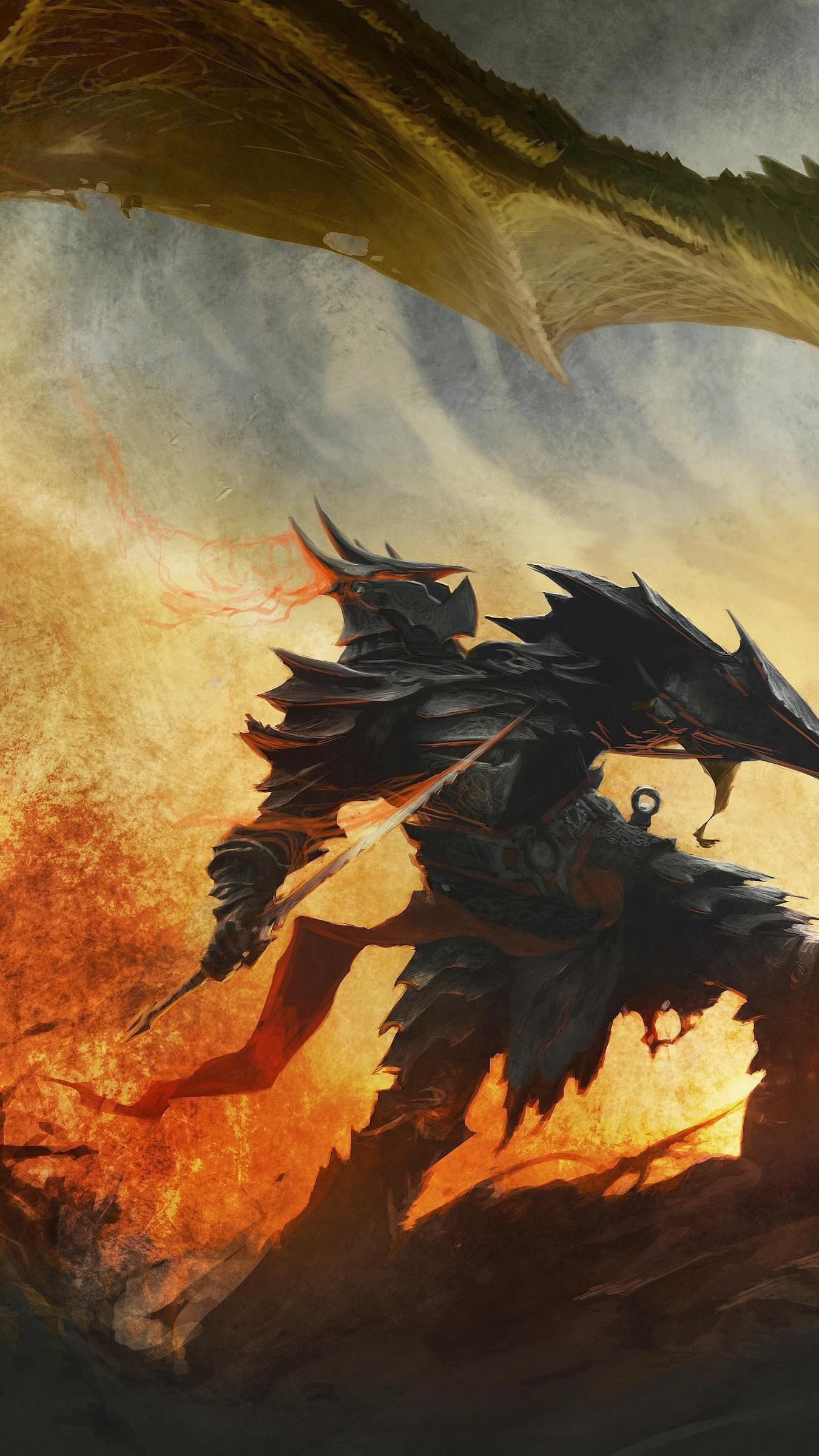 Res: 1350x2400,  Wallpaper the elder scrolls, skyrim, art, dragon, daedric armor,  battle