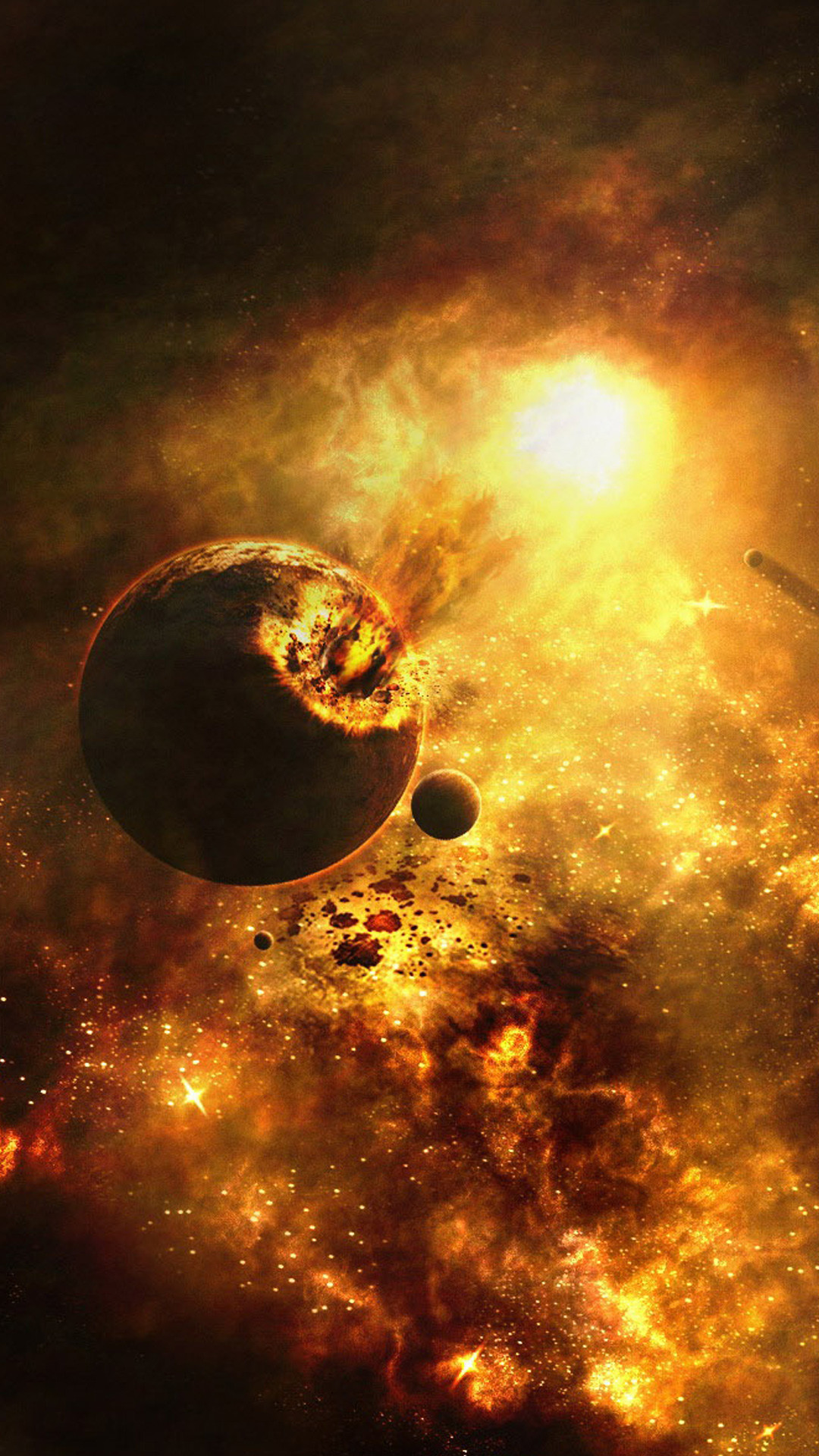 Res: 1080x1920, Exploding Planet Space Universe Android Wallpaper ...