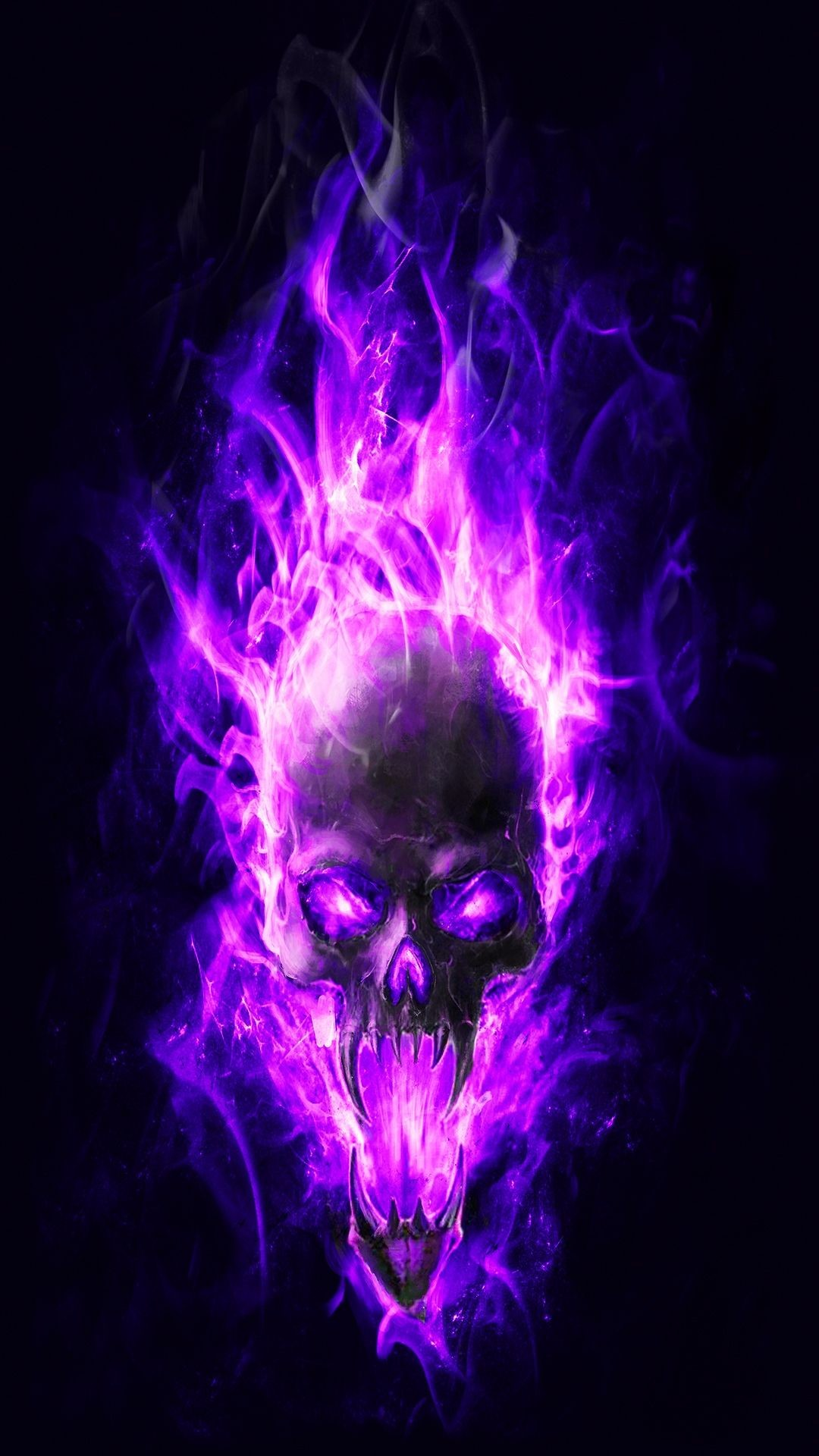 Res: 1080x1920, Best Of Flaming Skull Wallpaper Download - HD Wallpapers .
