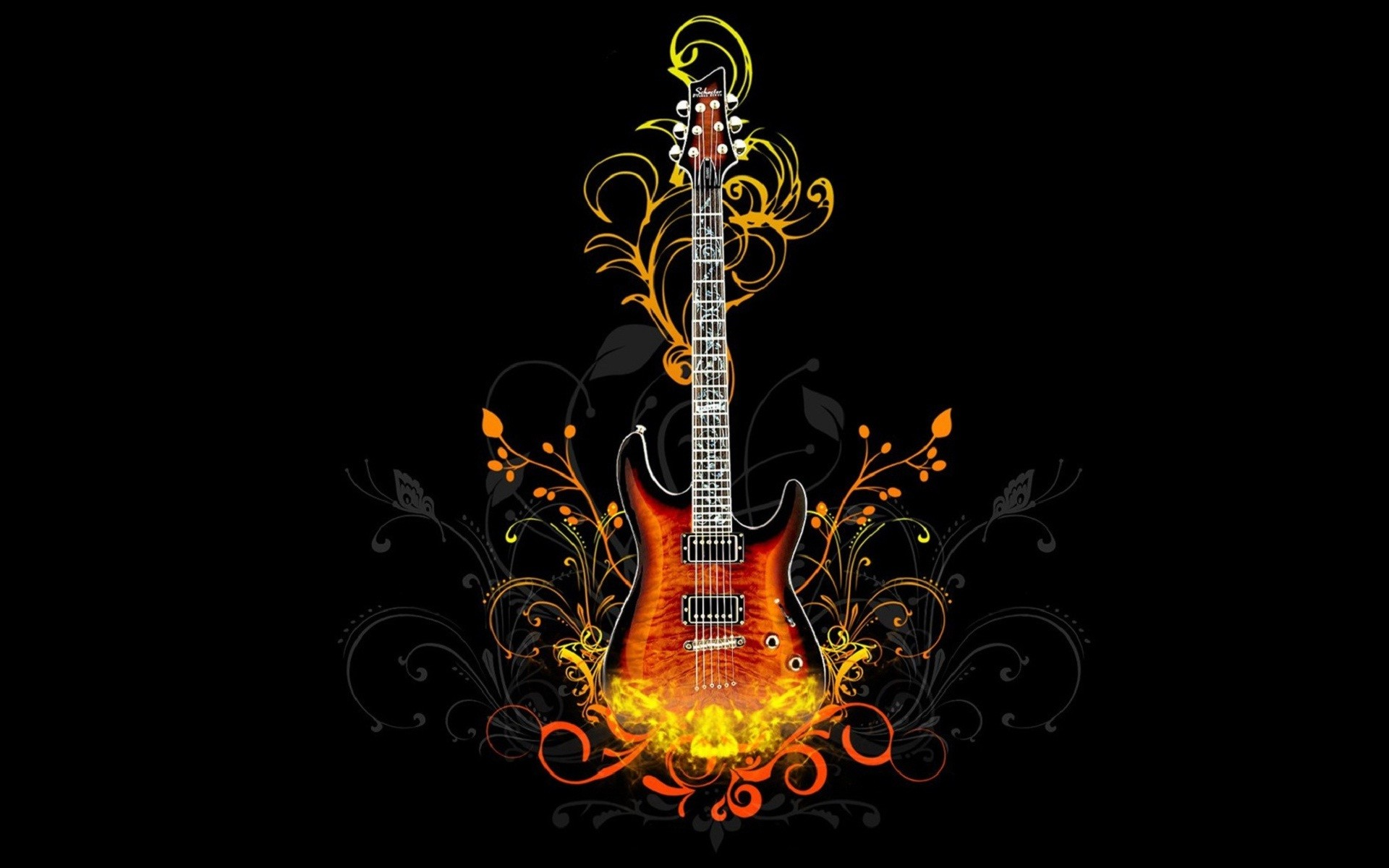 Res: 1920x1200, Flaming Skull With Guitar Wallpaper Hd