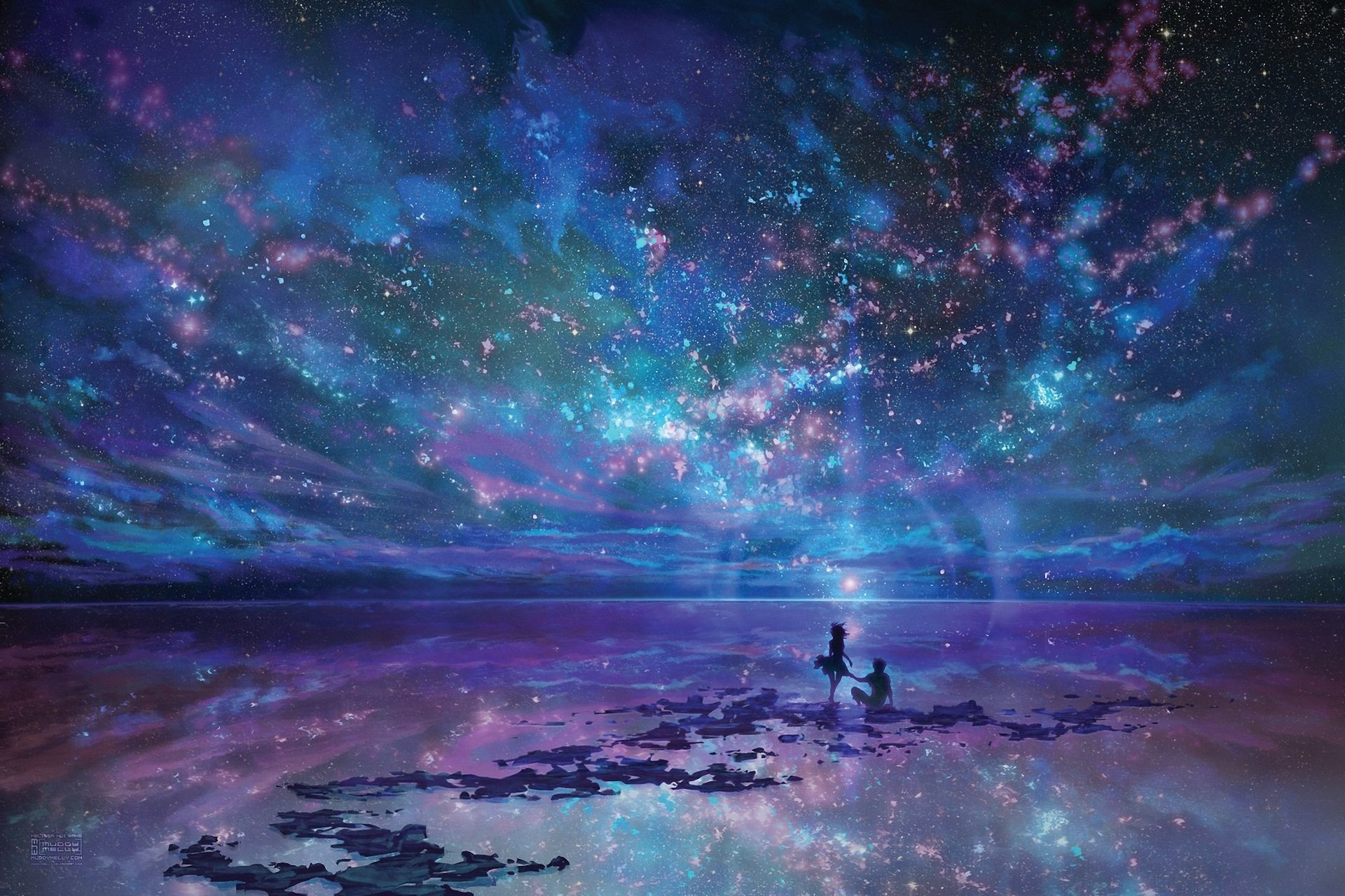 Res: 1920x1280, Anime Sky Anime Blue Purple Reflection Couple Ocean Wallpaper
