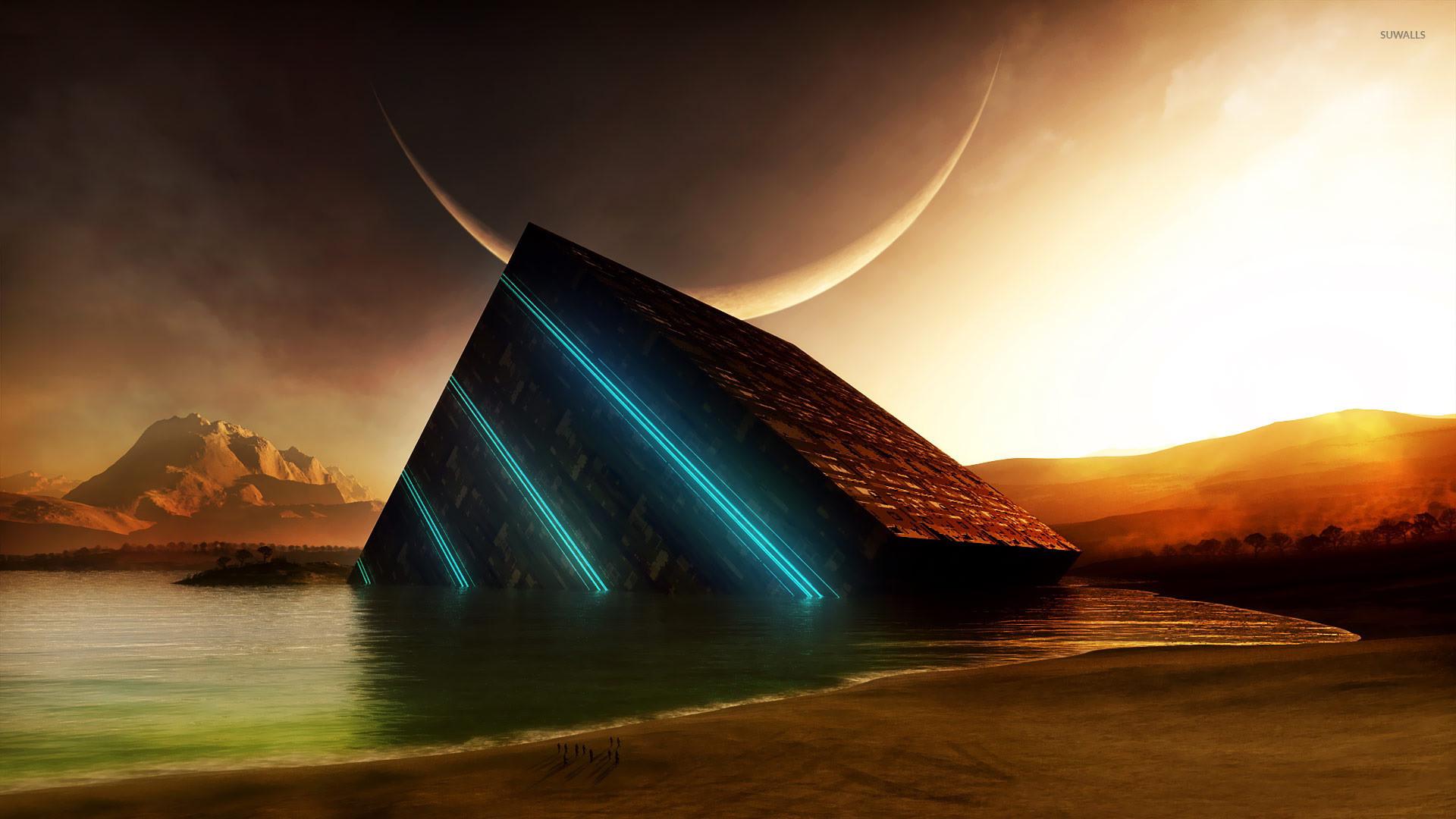 Res: 1920x1080, Glowing cube in the ocean wallpaper jpg