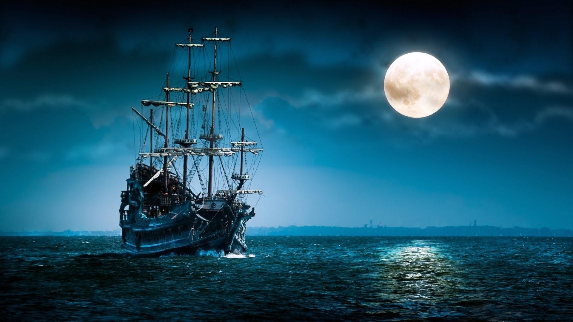 Res: 1920x1080, Sailboat sea moon ship boat ocean night mood wallpapers HD.