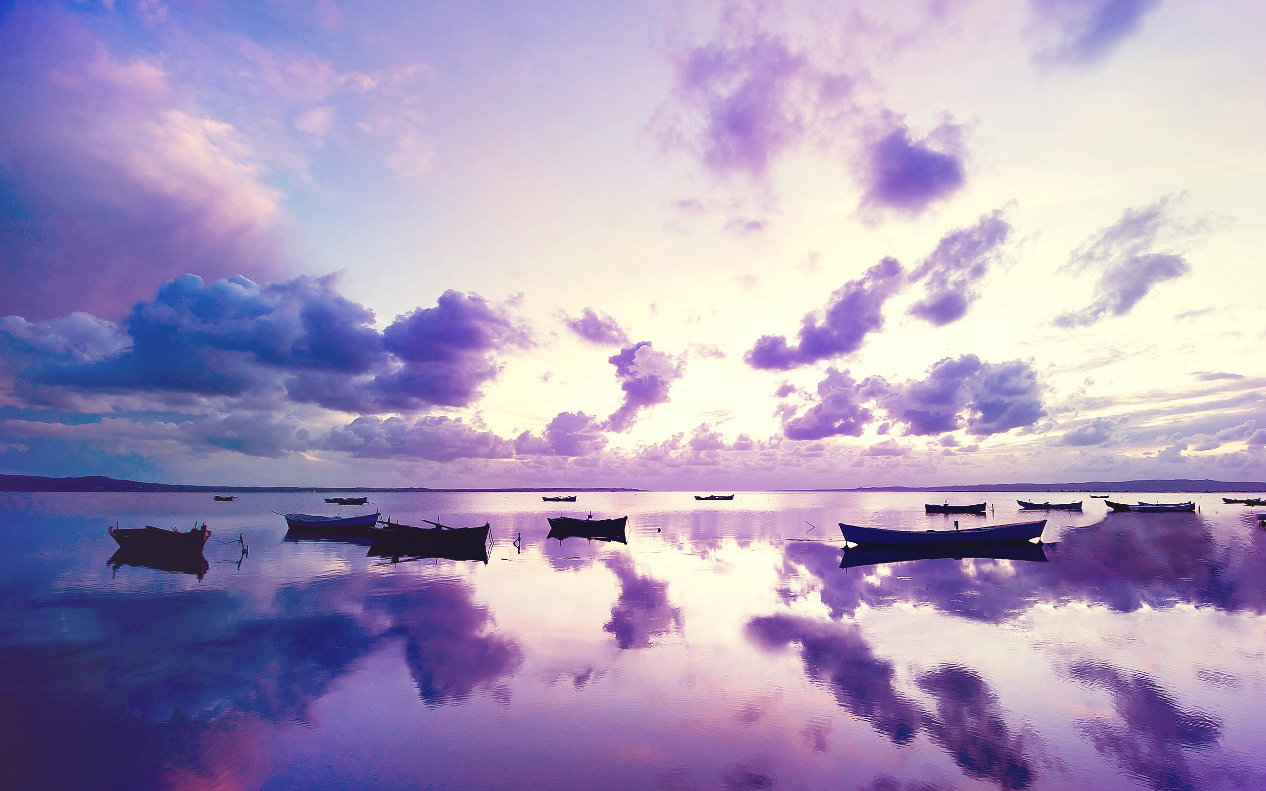 Res: 2560x1600, Purple Sunset in Ocean Wallpaper