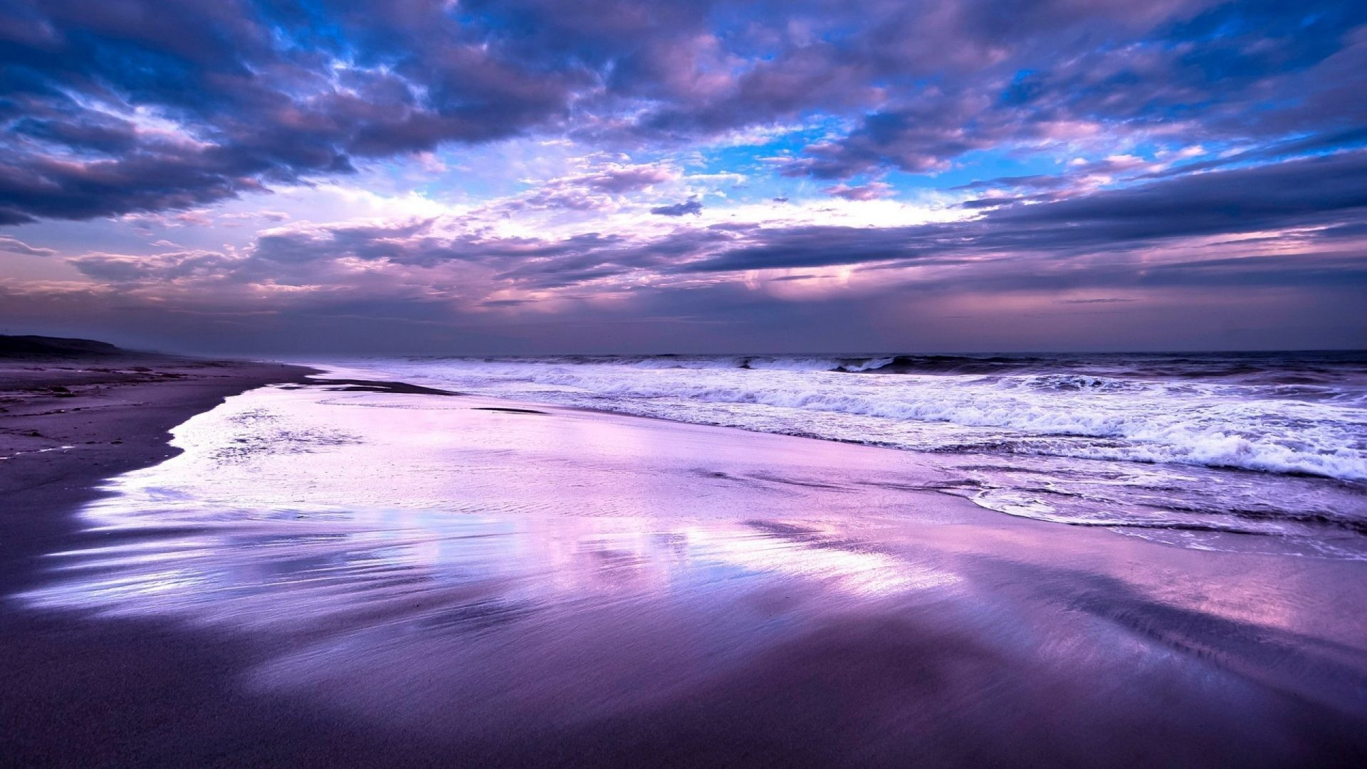 Res: 1920x1080, Waves Tag - Reflection Shore Purple Sea Waves Ocean Beach Coast Nature  Wallpaper For Phone Hd