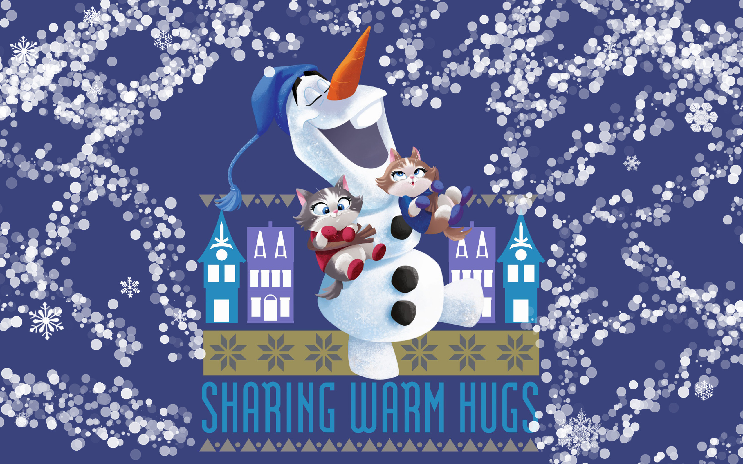 Res: 2560x1600, Olaf with kittens in socks wallpaper - Olaf's Frozen Adventure