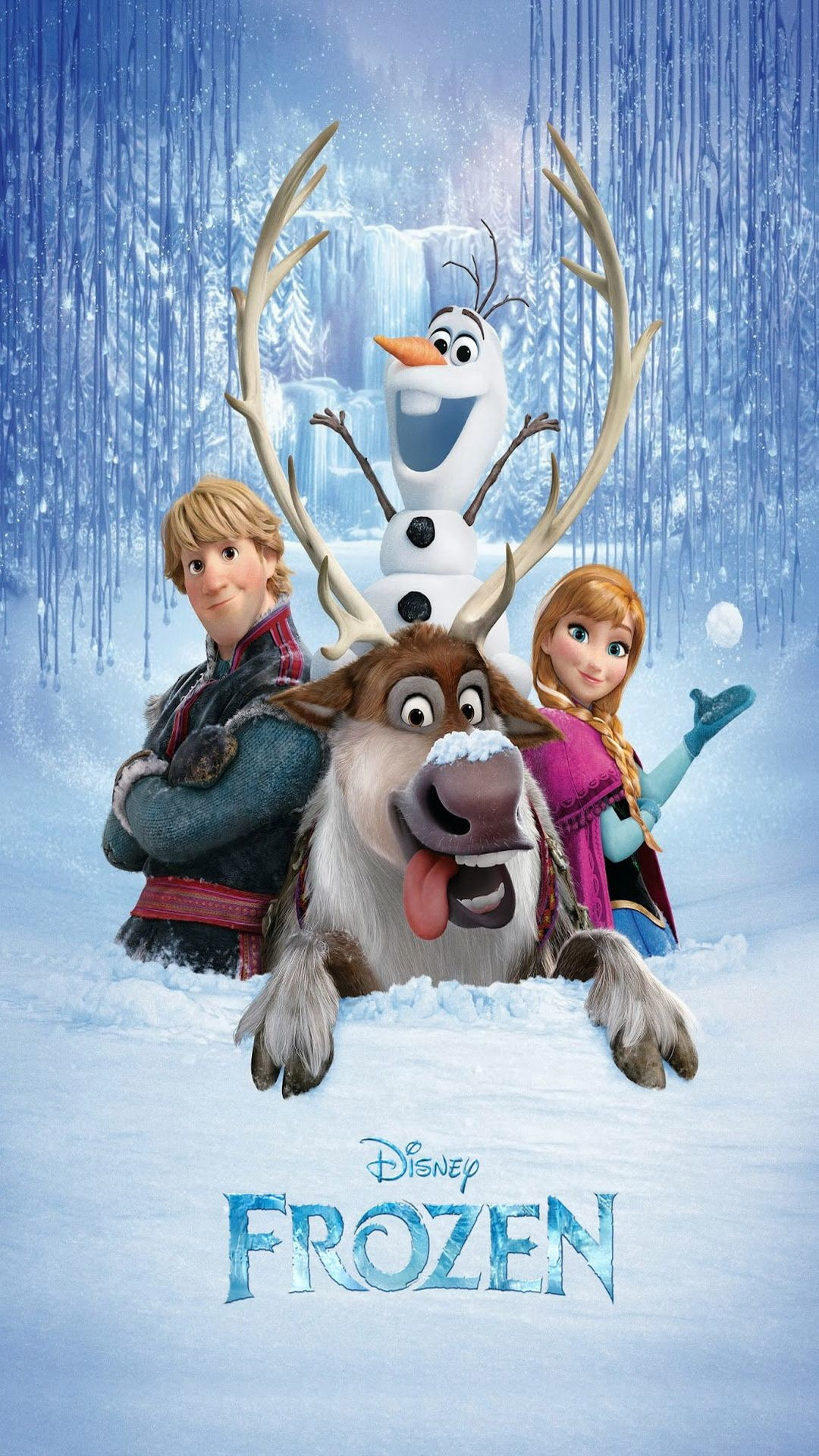 Res: 1080x1920, Movies Frozen Anna Olaf Kristoff Deer White Blue Disney Cartoon Kids Funny  Comedy HD iPhone 6 plus Wallpaper