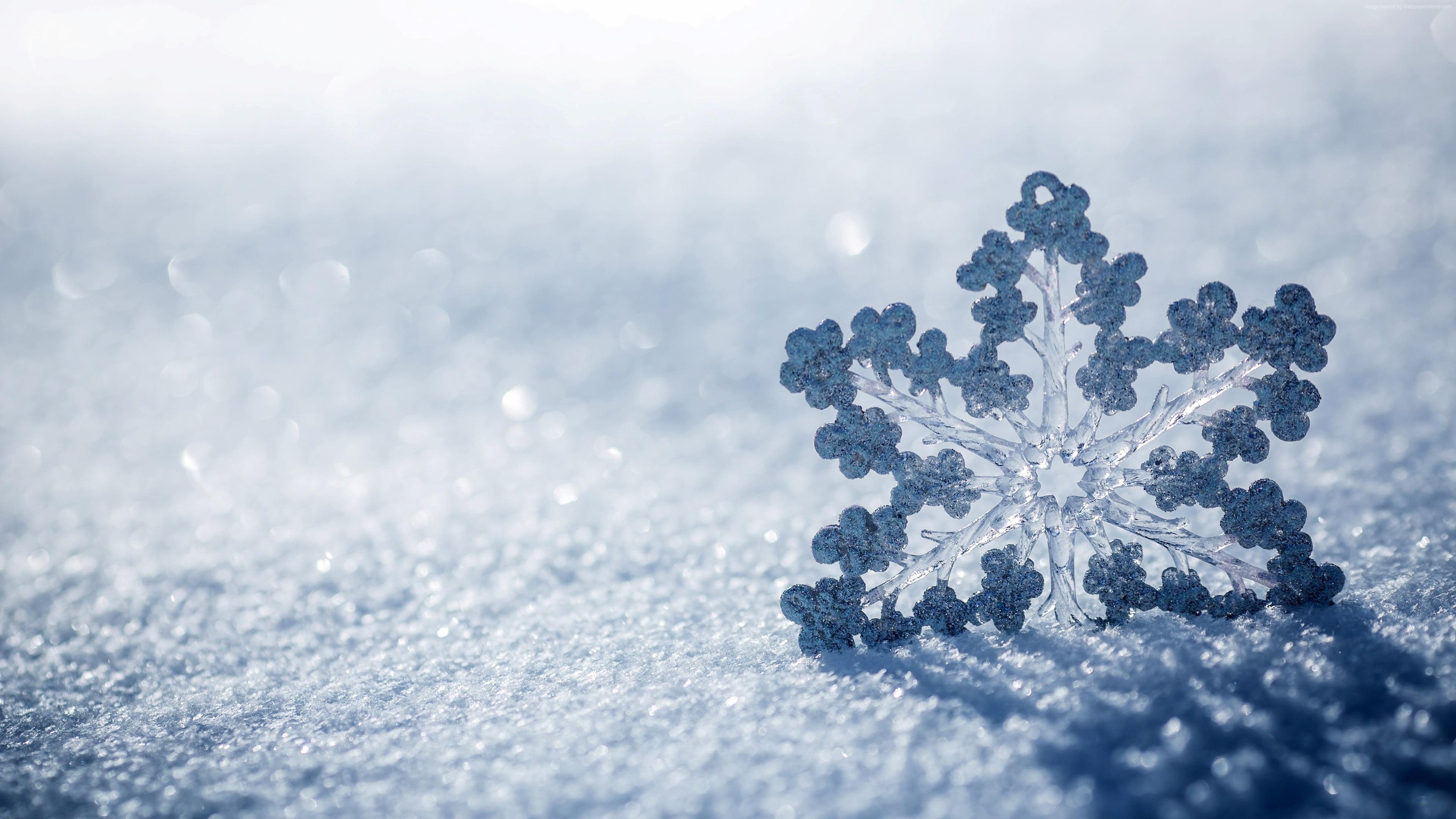 Res: 3840x2160, white snowflakes, snow, winter, snowflake HD wallpaper