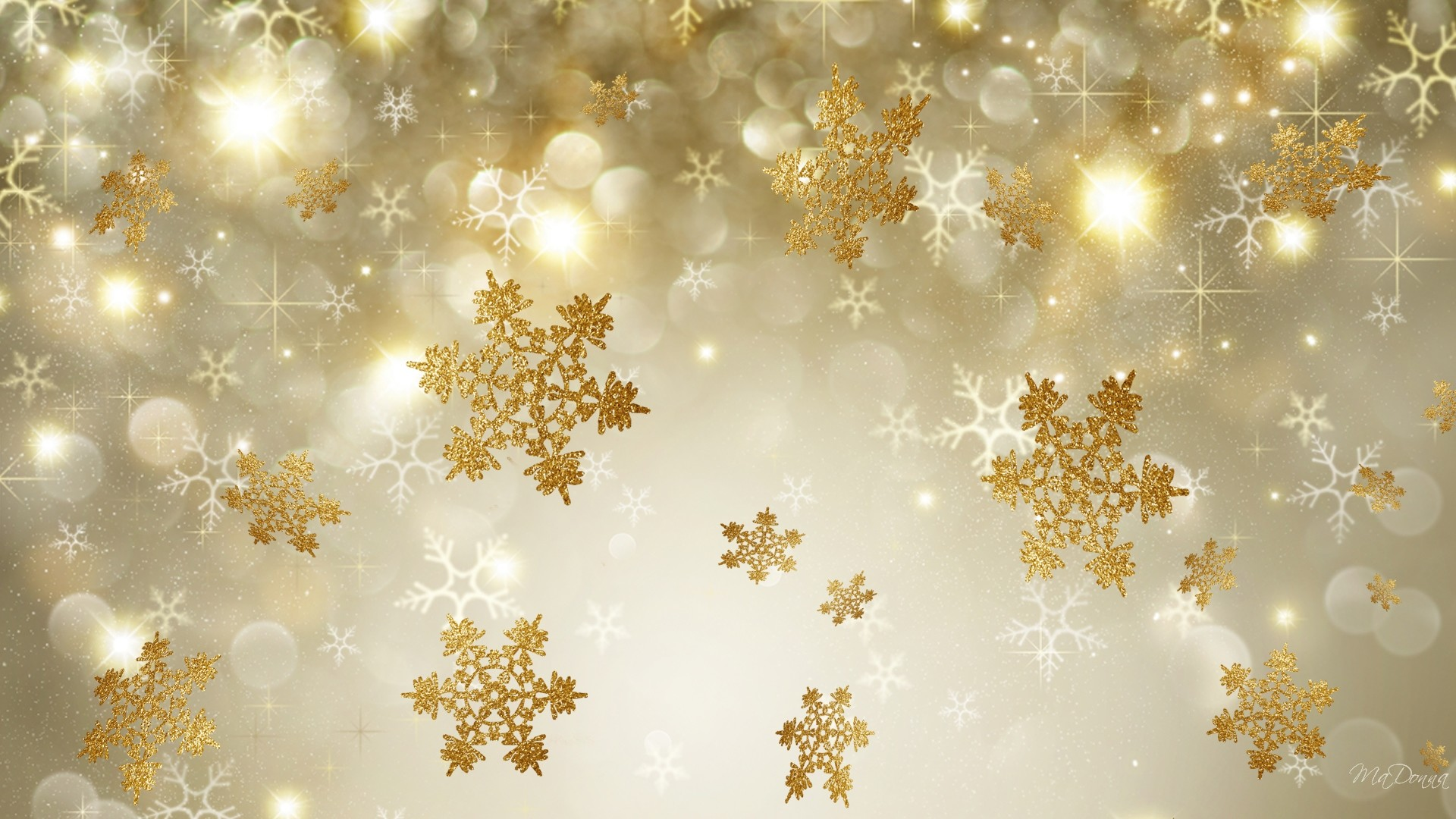 Res: 1920x1080, Artistic - Snowflake Artistic Winter Golden Gold Wallpaper