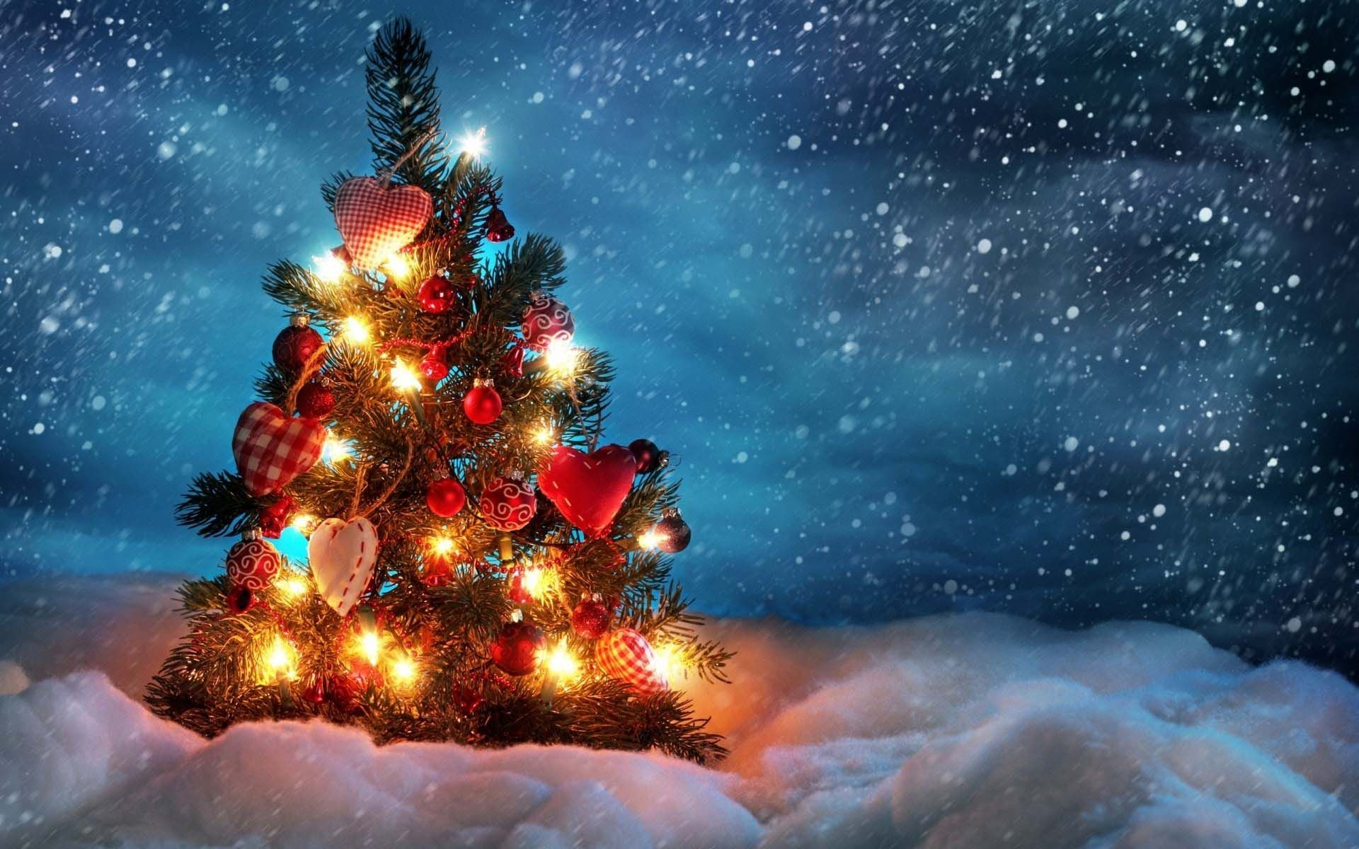 Res: 1920x1200, Snow Winter Christmas Tree Lights Snowflakes Wallpaper | HD Christmas  Wallpaper Free Download ...
