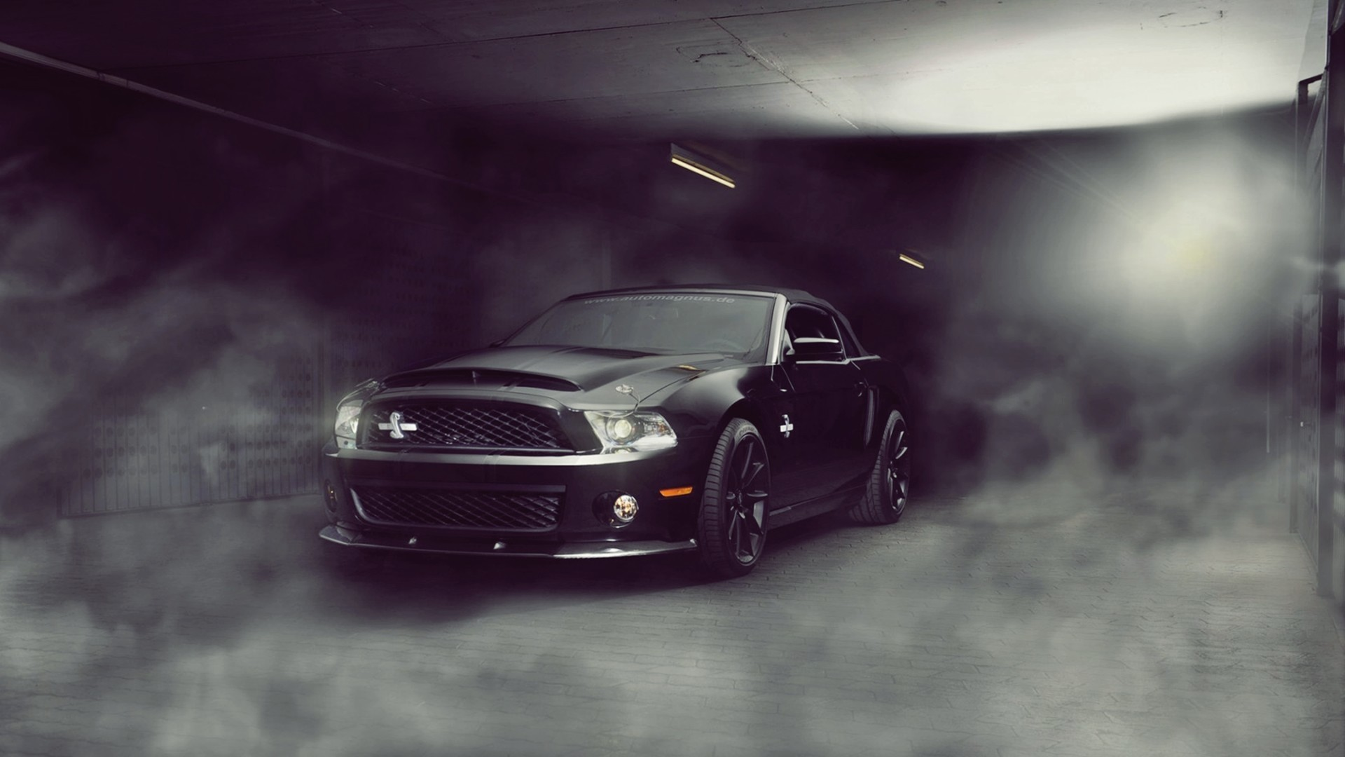 Res: 1920x1080, black cars ford mustang knight rider lights muscle car shelby gt500  supersnake smoke