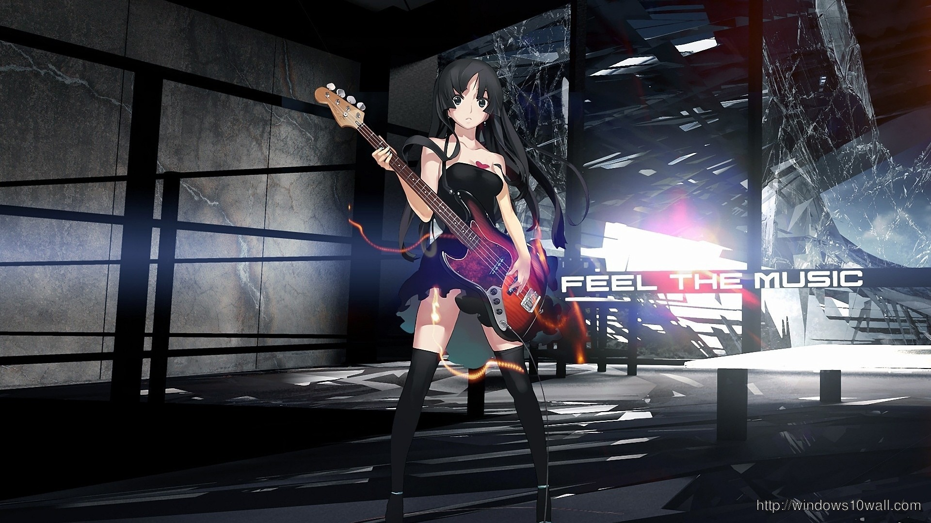 Res: 1920x1080, Anime Guitar Girl Wallpaper