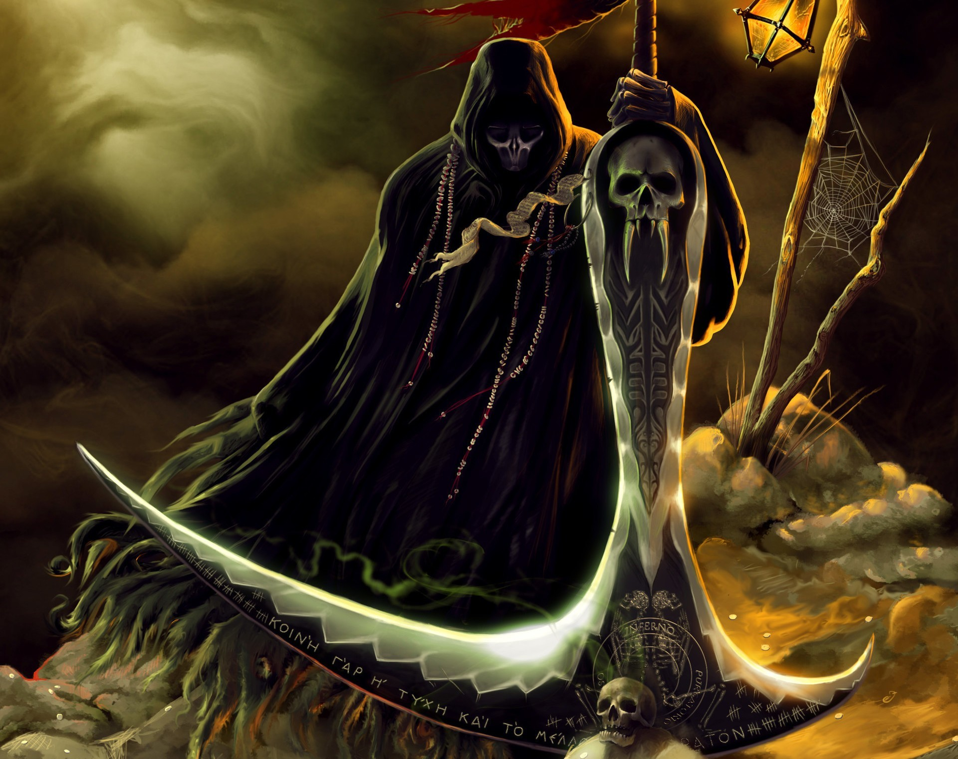 Res: 1920x1522, grim reaper skull fantasy art wallpaper and background