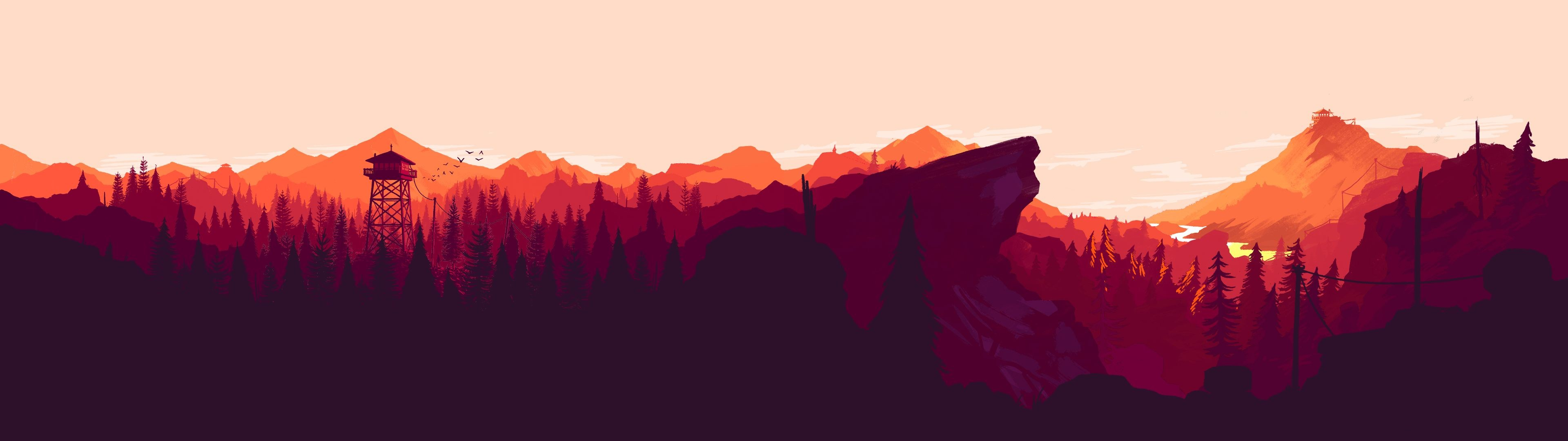 Res: 3840x1080, I made some dual and single monitor Firewatch wallpapers for different  times of the day