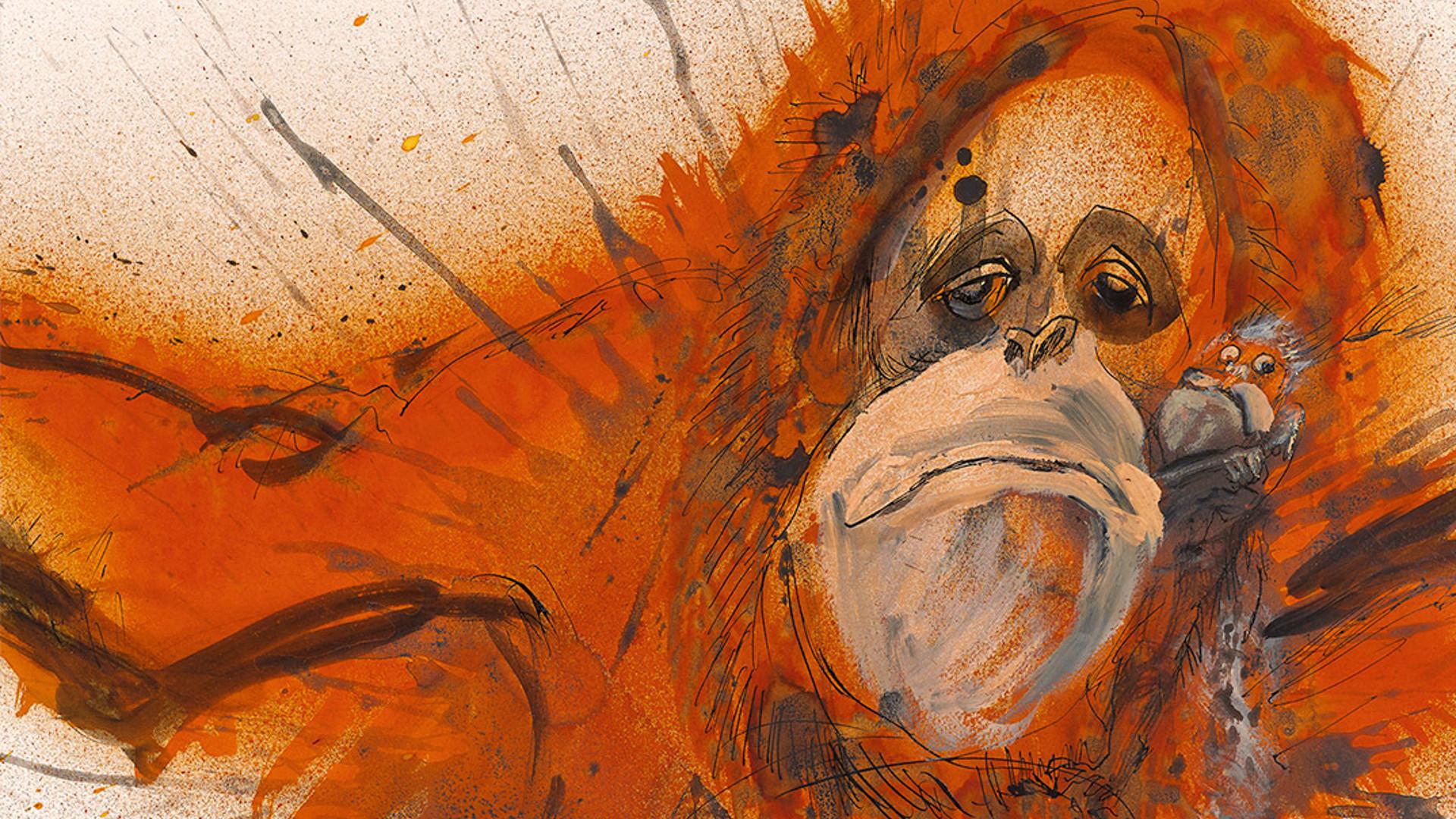 Res: 1920x1080, Crittical critter orangutan. Artist Ralph Steadman ...