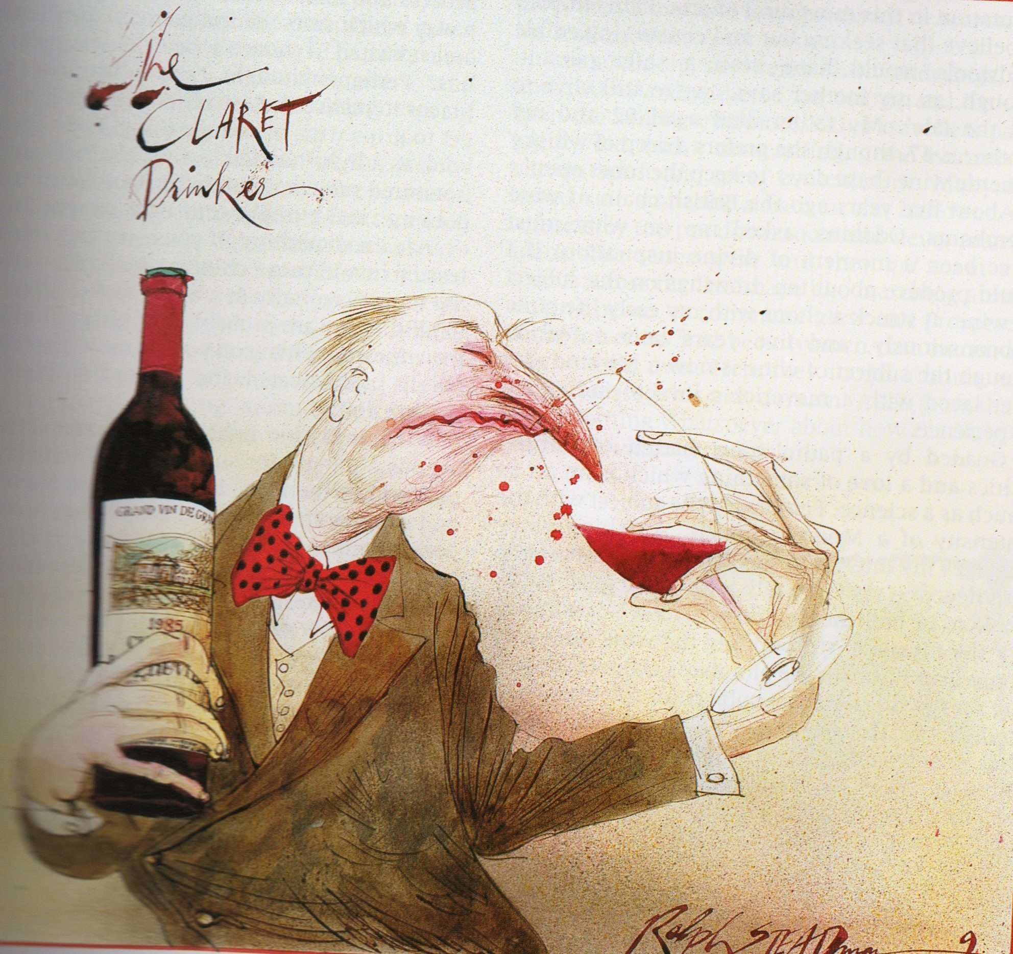 Res: 1984x1868, A good wine has legs, but it takes a good nose to know one! - Ralph Steadman  illustration