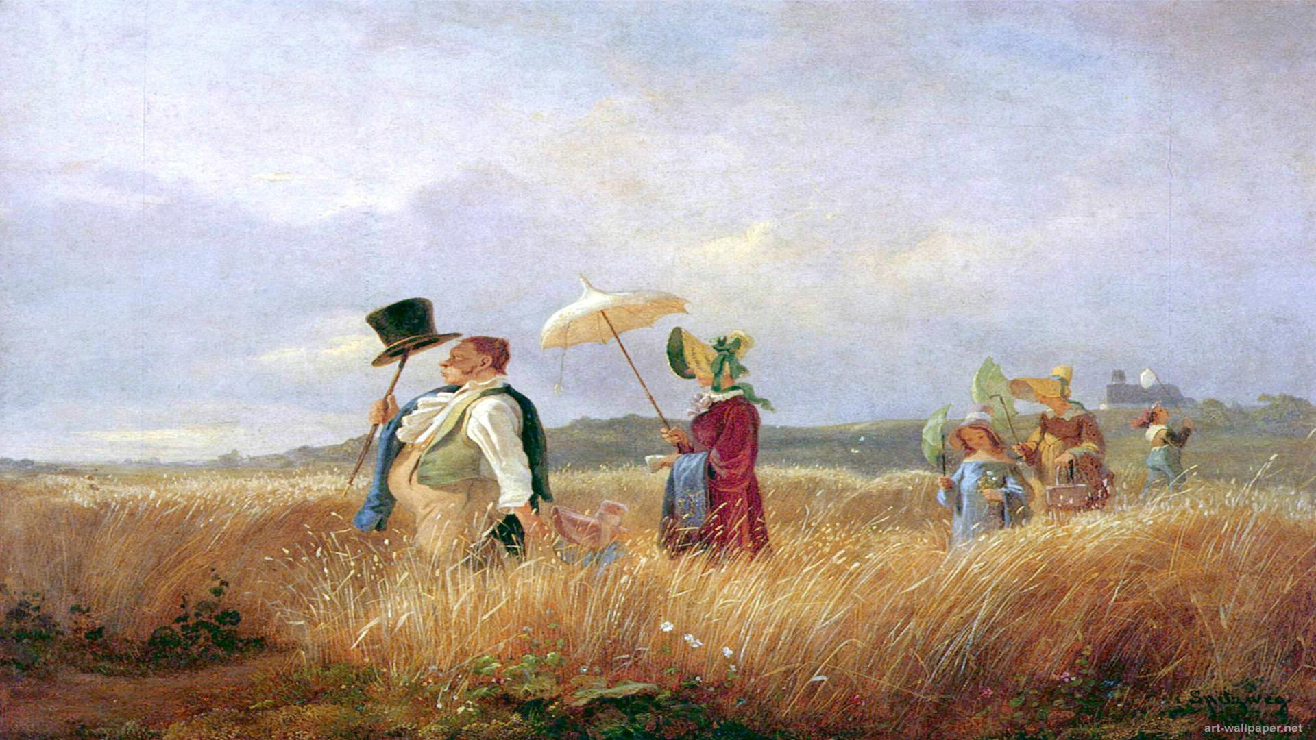 Res: 1920x1080, Carl Spitzweg Paintings wallpaper