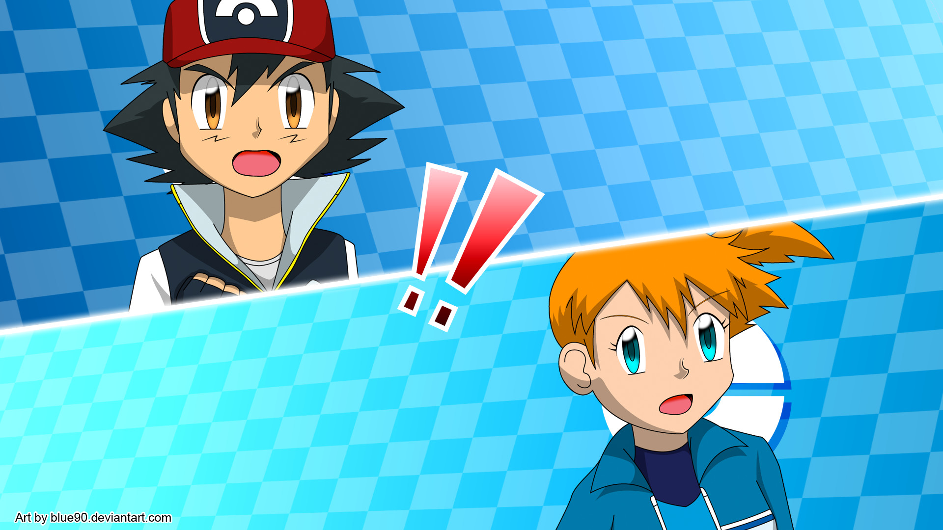 Res: 1920x1080, ... PKMN V - Ash and Misty All Out Attack by Blue90