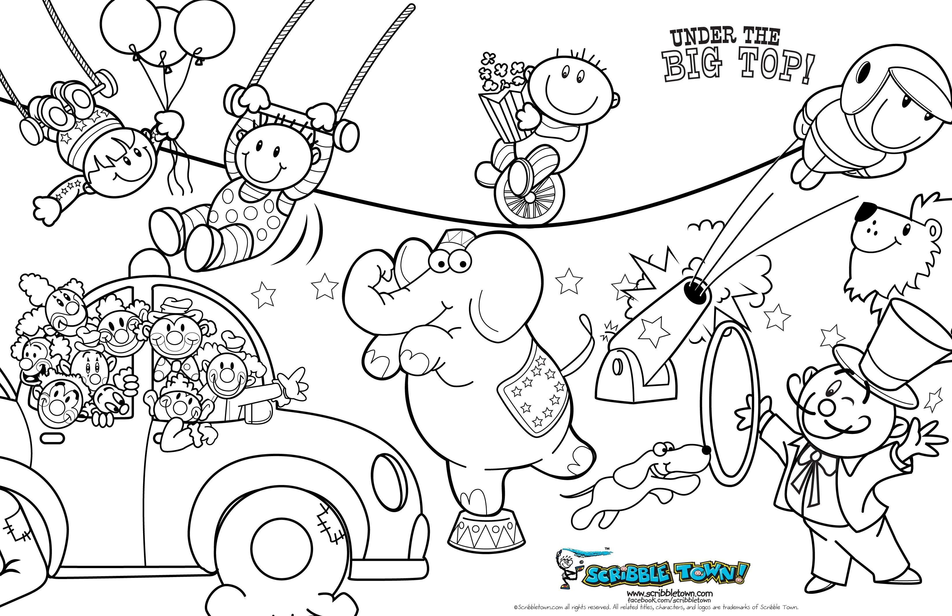 Res: 3300x2135, Circus Coloring Page Wallpapers Lobaedesign