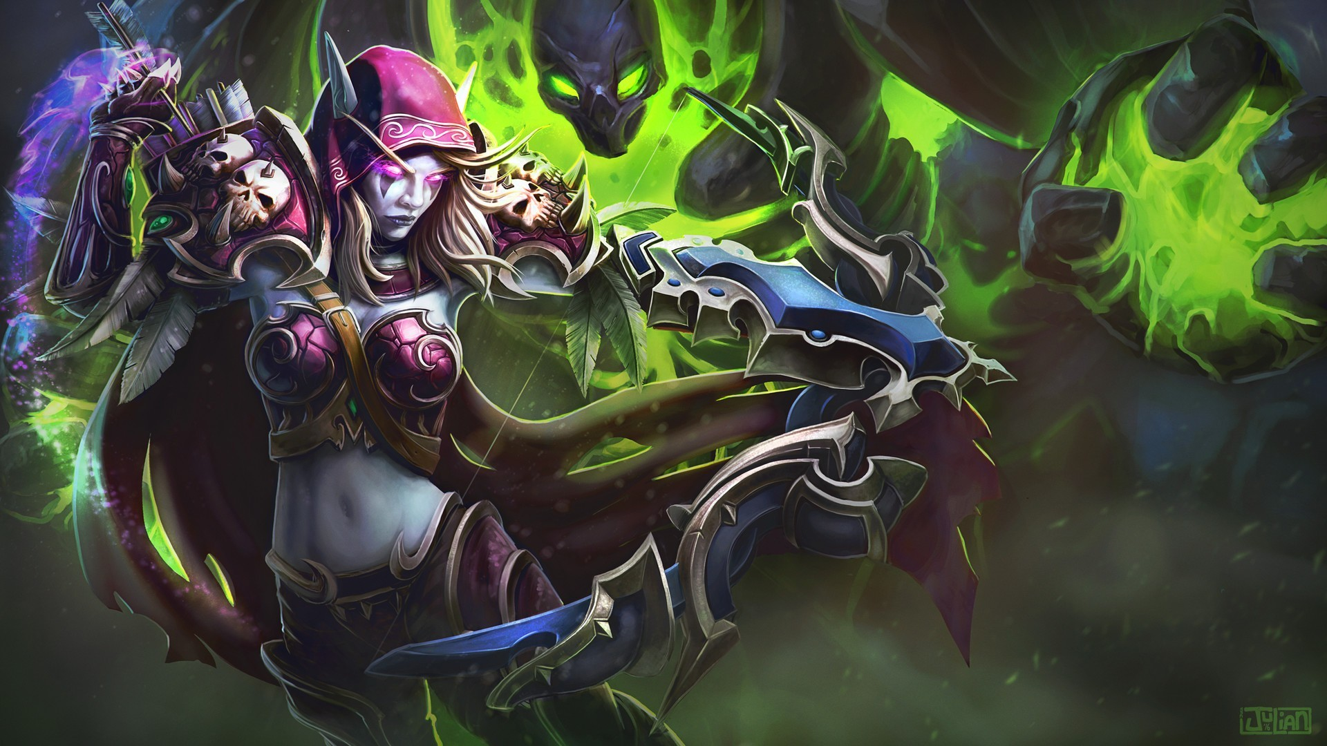 Res: 1920x1080, Sylvanas Windrunner, World of Warcraft, Video games, Bow, Arrows, Fantasy girl  Wallpapers HD / Desktop and Mobile Backgrounds