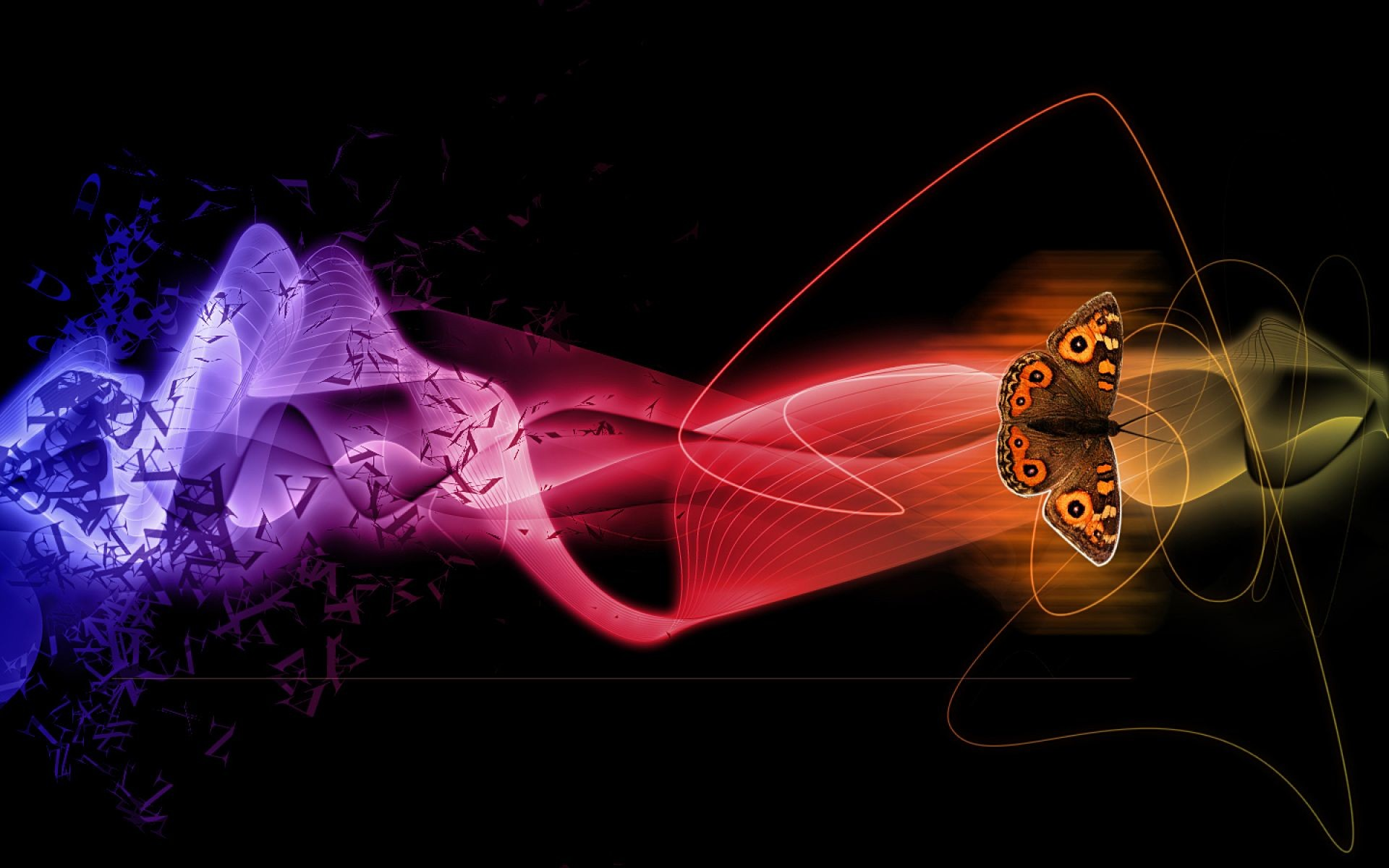 Res: 1920x1200, Abstract Butterflies With 3D Color Splash Wallpaper | HD 3D and Abstract  Wallpaper Free Download ...