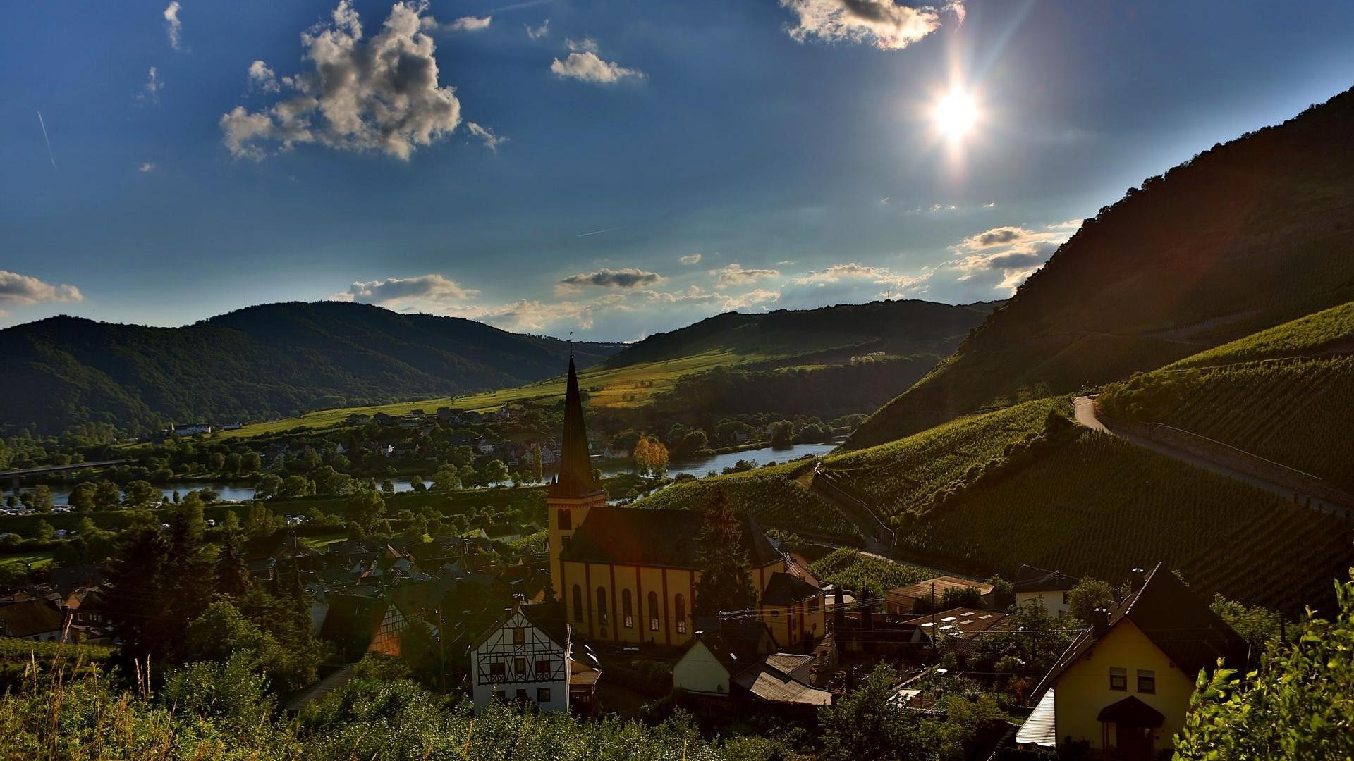 Res: 1920x1080, Religious - Bright Sunshine Church Riverside Town Sun River Valley  Mountains Dual Monitor Background for HD