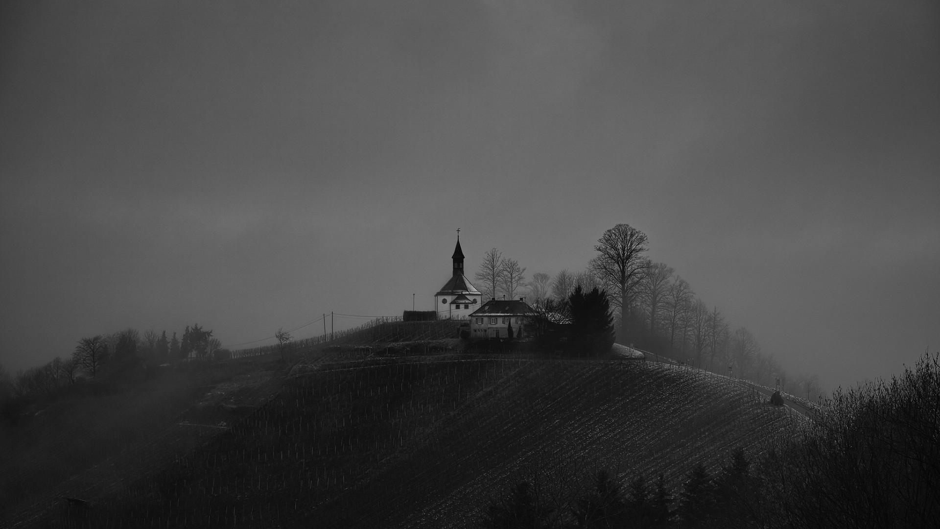 Res: 1920x1080, religious-magical-rural-hilltop-church-grayscale-trees-dark-