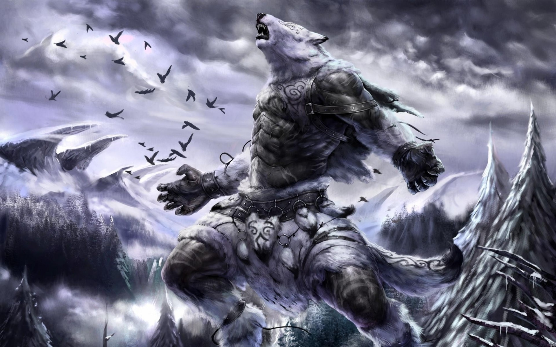 Res: 1920x1200, lymronia, forest, landscapes, monster,cartoon wallpapers, sky, download  comic wallpapers, fantasy, widescreen, mountains, birds, fur, armor,  winter, snow, ...