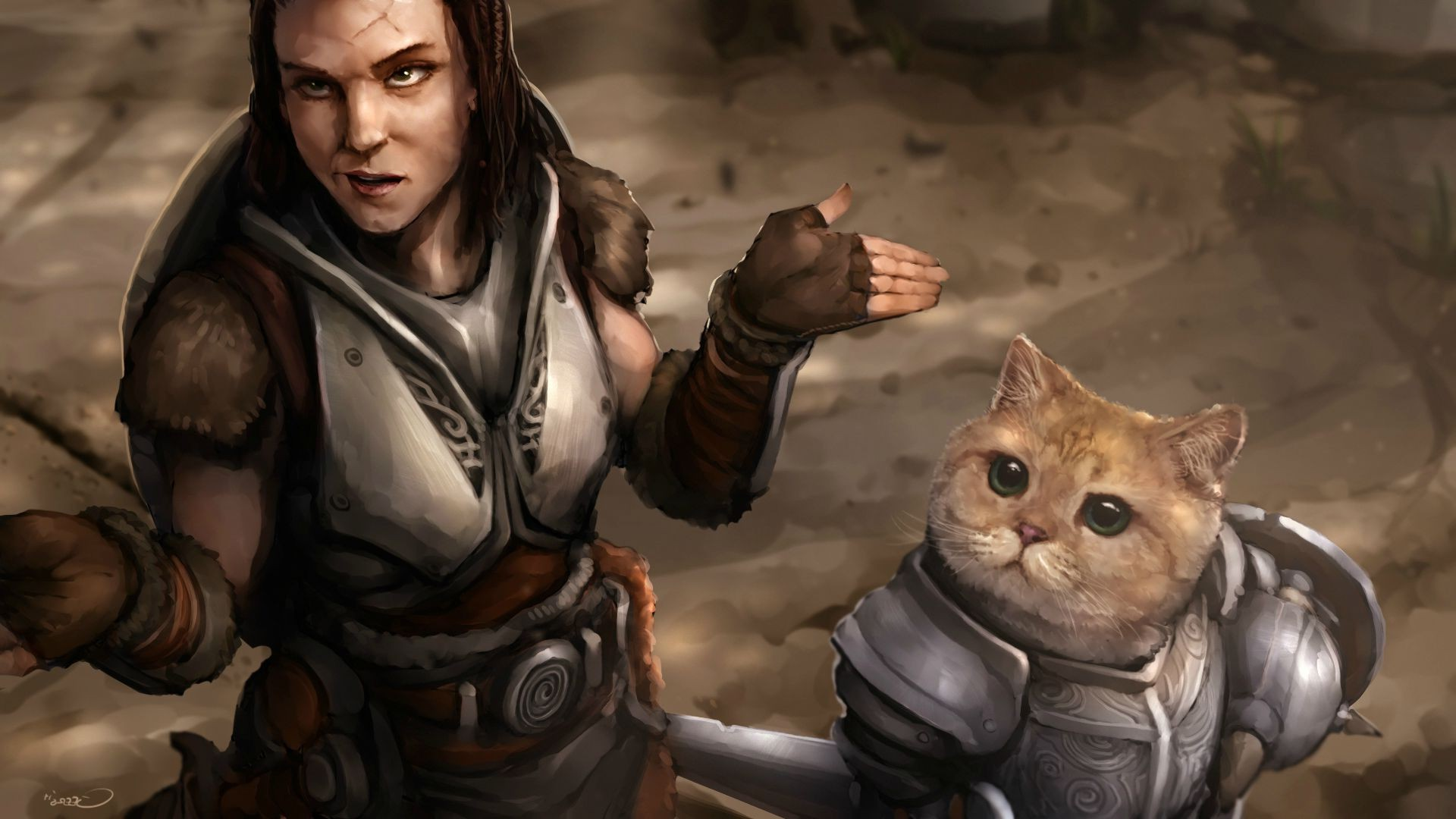 Res: 1920x1080, The Elder Scrolls V: Skyrim, Cat, Video Games, Lydia