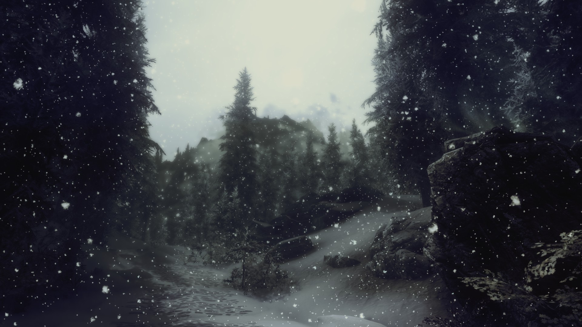 Res: 1920x1080, artwork, snow, trees, depth of field, video games, The Elder Scrolls