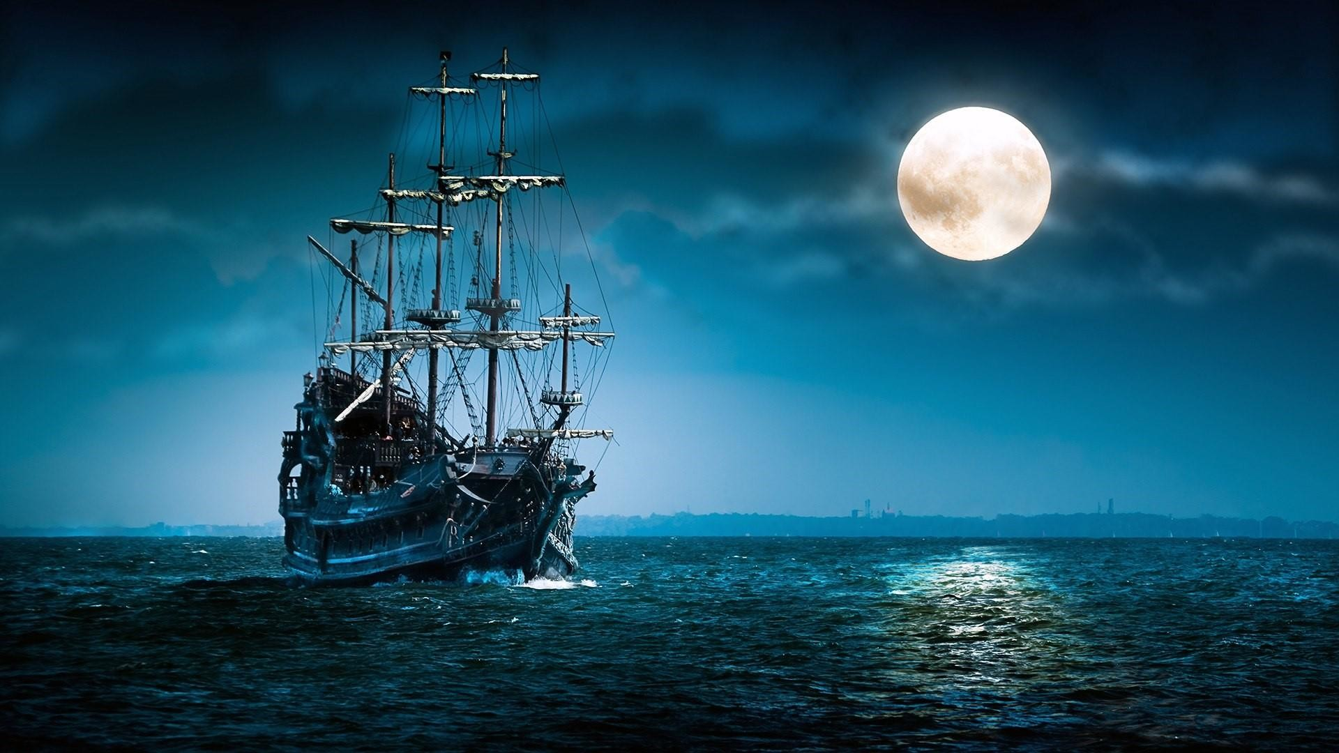 Res: 1920x1080, Vintage Sailing Ship In The Full Moon Wallpaper | Wallpaper Studio 10 |  Tens of thousands HD and UltraHD wallpapers for Android, Windows and Xbox
