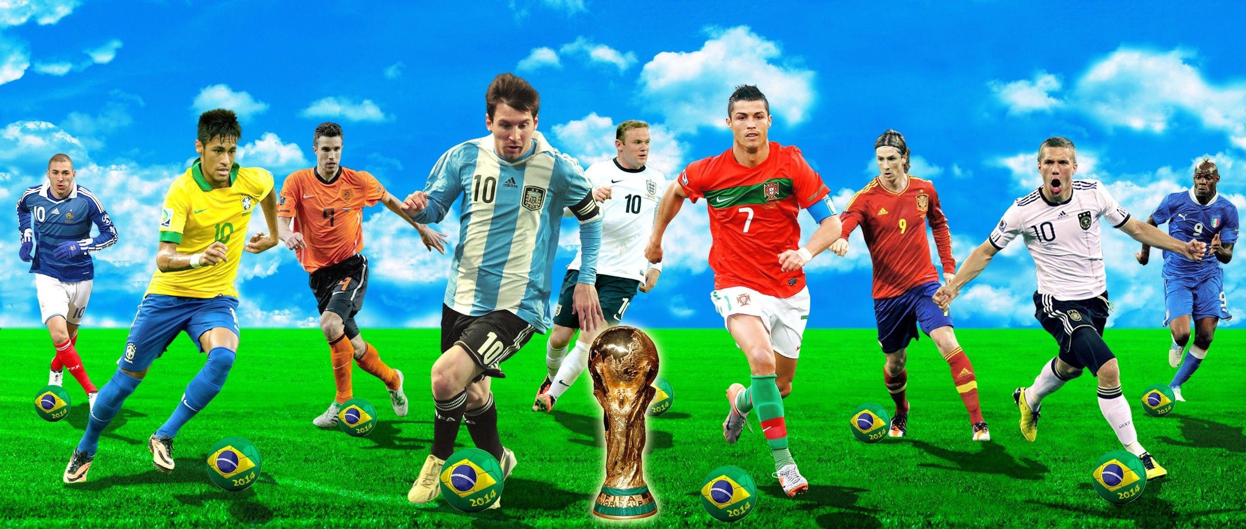Res: 2560x1087, World Cup 2014 Football Wallpaper