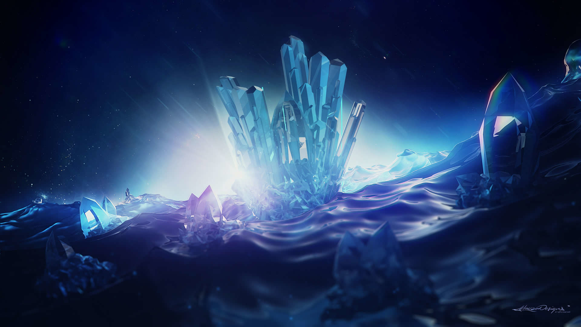 Res: 1920x1080, Minimal Artistic Crystal Wallpaper