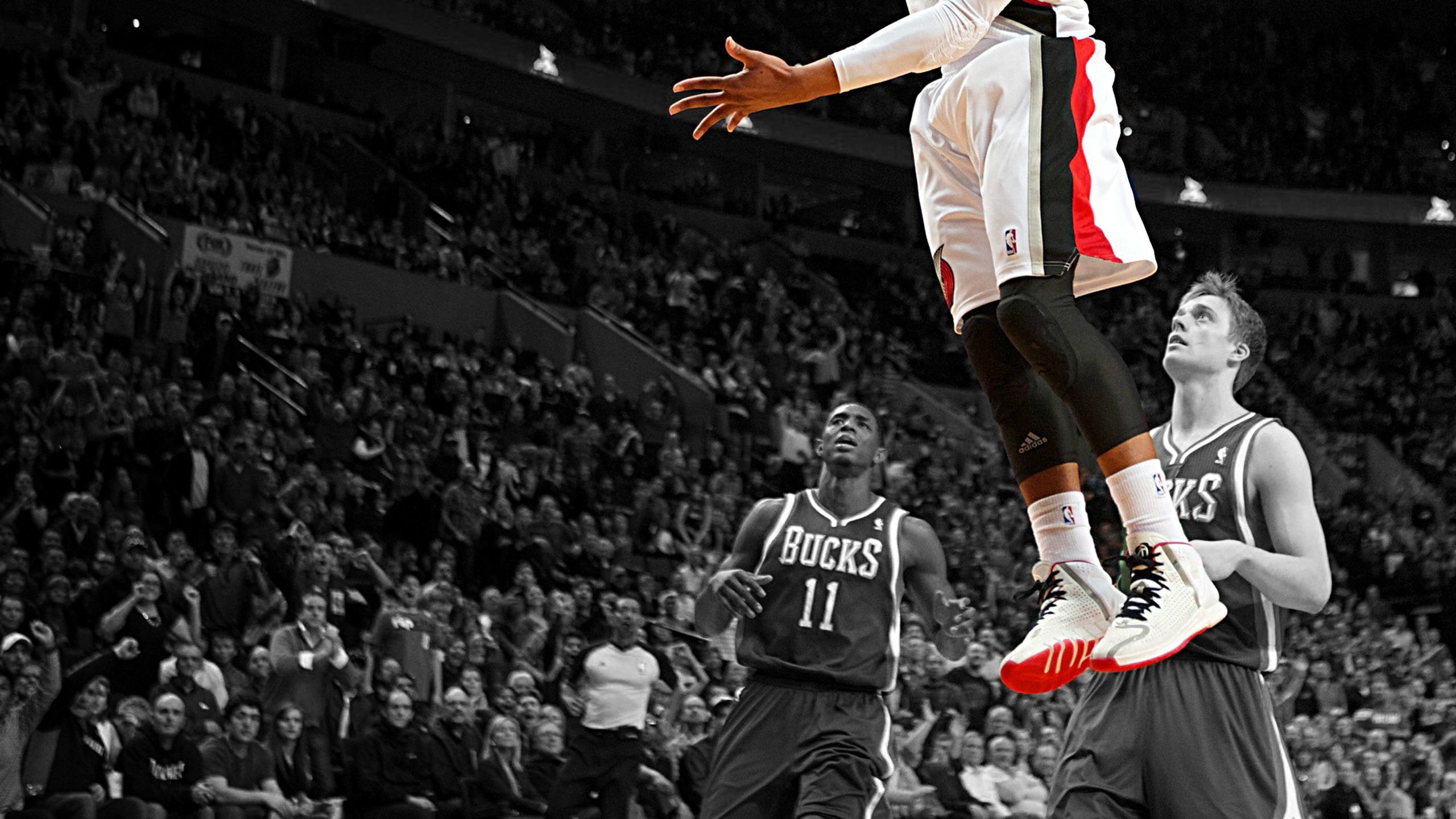 Res: 2560x1440, My coworker made a desktop background using his favorite Damian Lillard  photo.