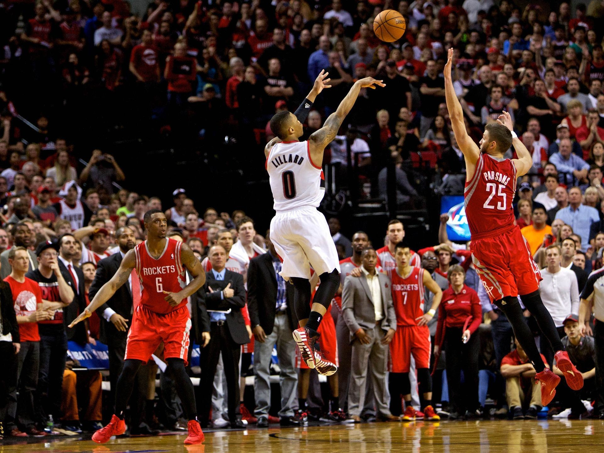 Res: 1920x1440, Damian Lillard, Game 6 of the 2014 Western conference opening round: Lillard  hit the game-winning three-pointer over the outstretched hands of Chandler  ...