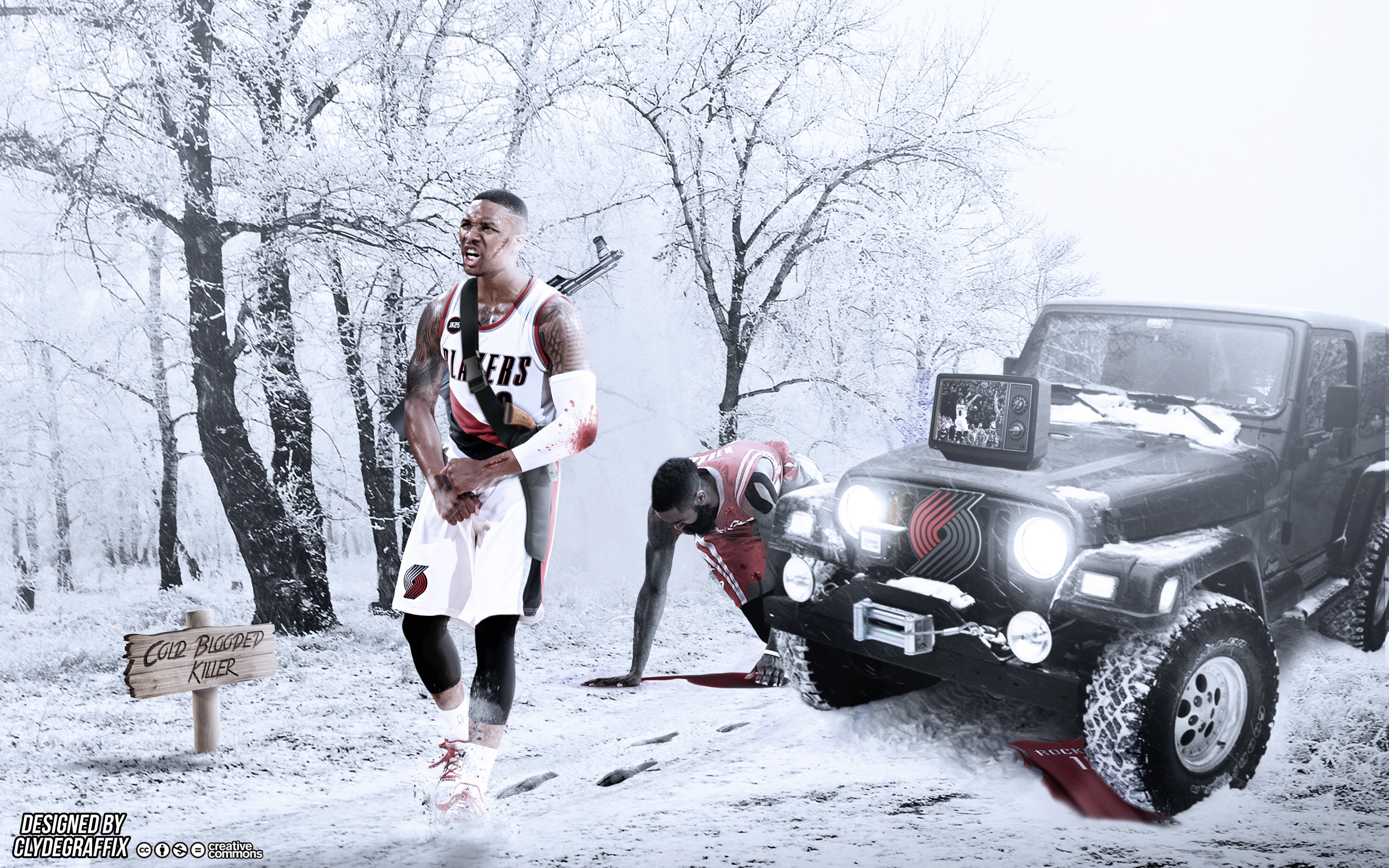 Res: 2880x1800, ... Damian Lillard | Cold Blooded Killer | Wallpaper by ClydeGraffix