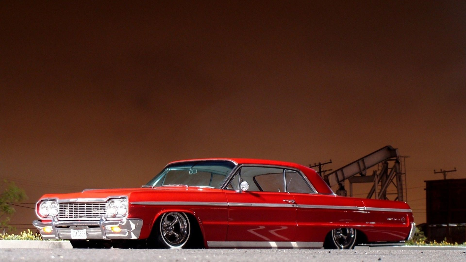 Res: 1920x1080, Chevrolet Impala Tuning Low Red Classic Muscle Cars Wallpaper .
