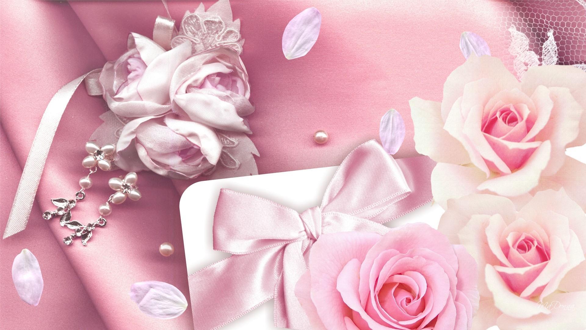 Res: 1920x1080, Feminine Pinks Silk Ribbon Bow Petals Pearls Pink Roses Lace Full HD  Wallpaper -