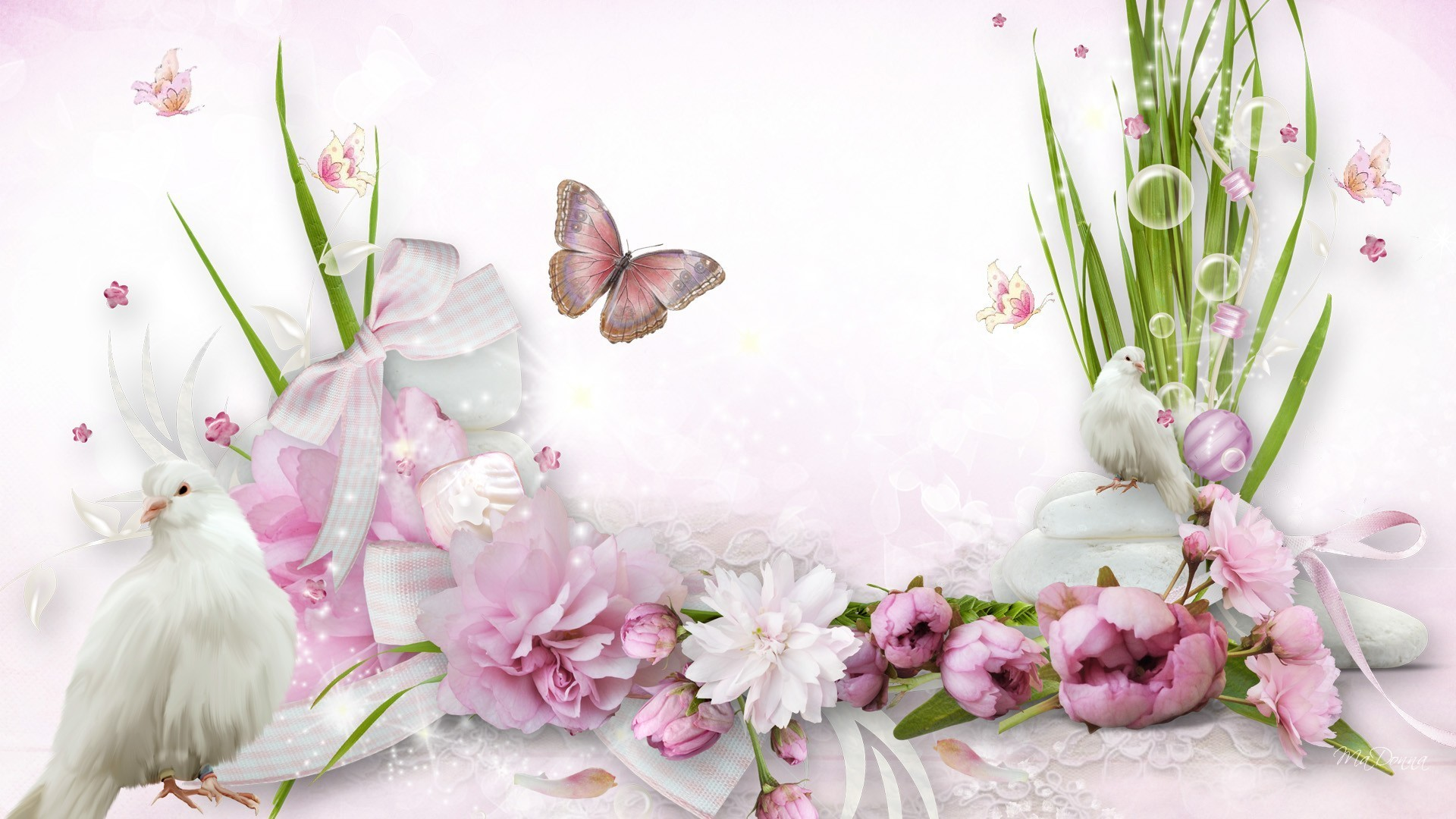 Res: 1920x1080, Firefox Pink Grass Peonies Prejudise Ribbons Doves Bows Summer Prejudice  Birds Persona Lace Flowers Soft Flower Desktop Background Hd -