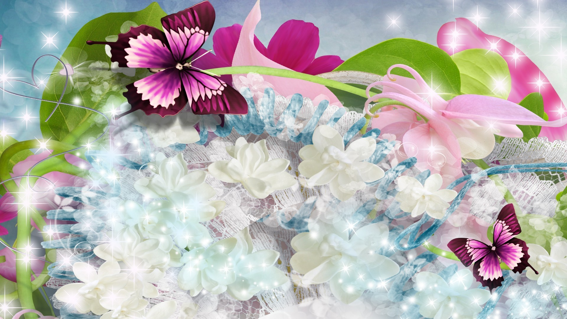 Res: 1920x1080, Butterflies Glowing Flowers Butterfly Soft Bows Bright Papillion Lace Pink  Ribbons Blue Fleurs Scatter Flower Wallpapers Free Download For Mobile - ...